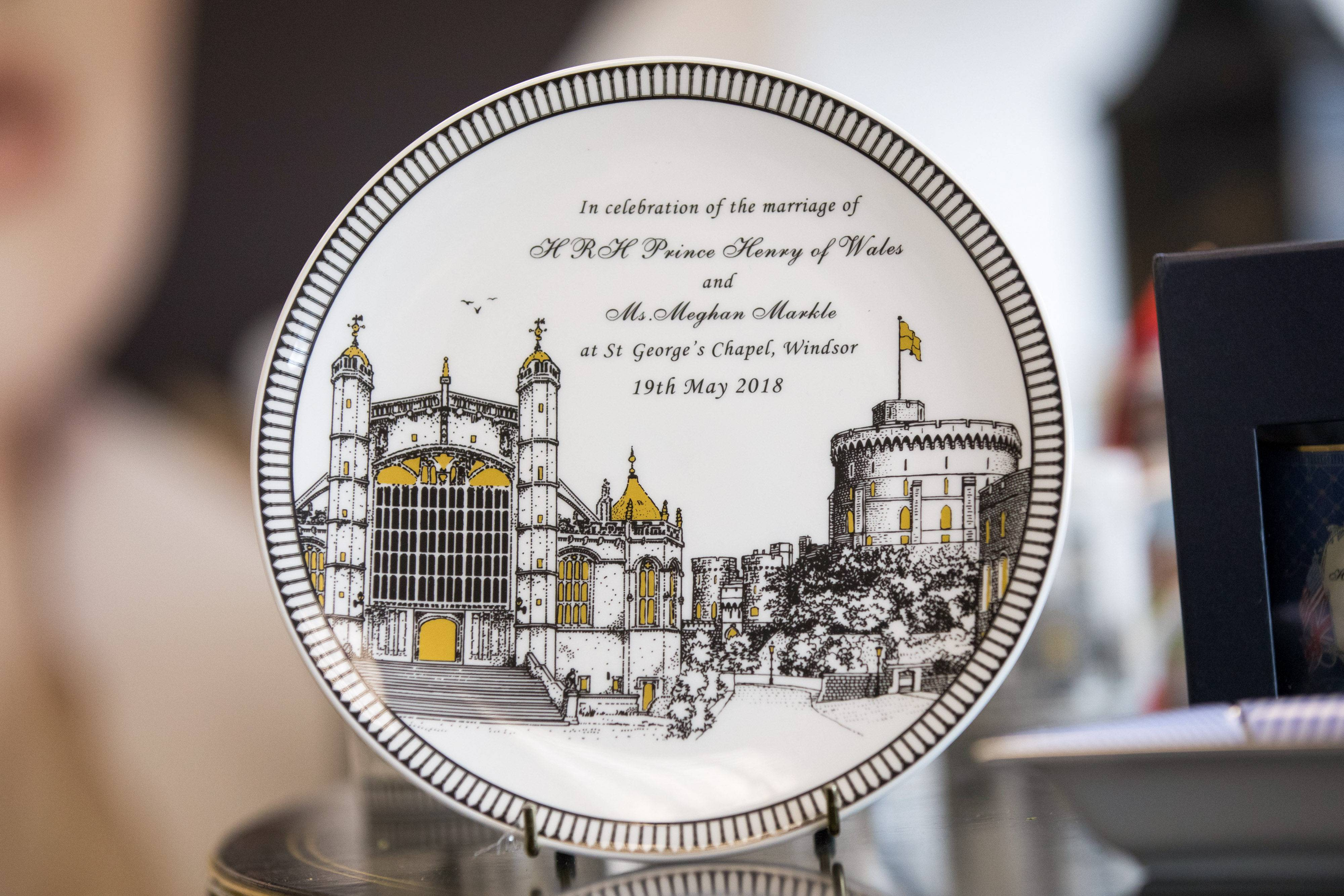 A china plate to commemorate the wedding between Henry Windsor and Meghan Markle, at Halcyon Days Ltd.'s factory in Stoke-on-Trent, England, on Feb. 12, 2018.