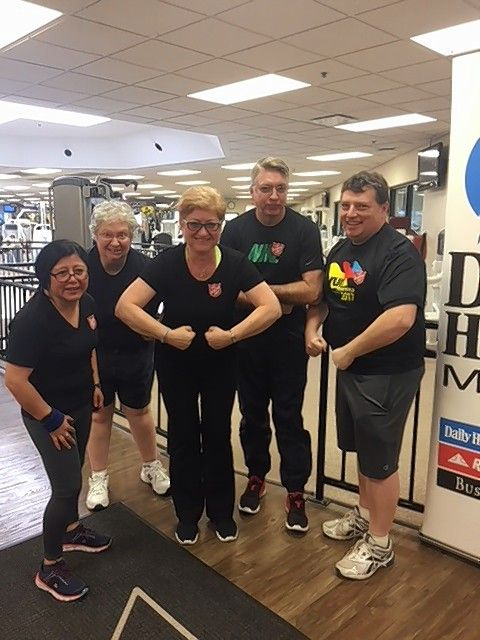 Second-place winners New Dimensions of the Salvation Army showing their team strength after the Indoor 5K at the Elk Grove Fitness Pavilion. From left to right: Sandra Picasso, Sharon Korecki, Natalya Khasina, Ron McCormick, and Chris Thill.