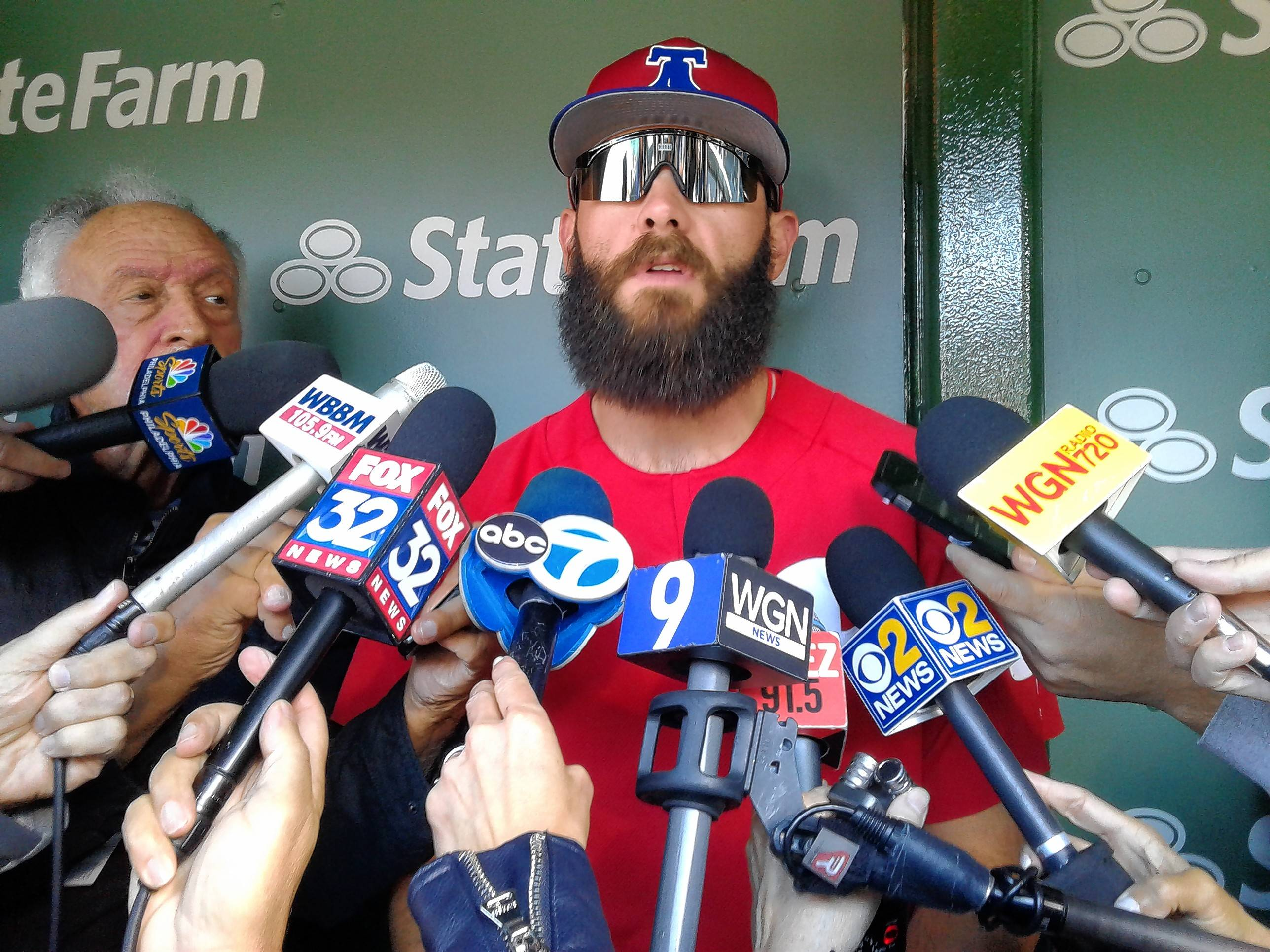 Former Cubs pitcher Jake Arrieta, now with the Phillies, fields questions from the Chicago media on Tuesday at Wrigley Field before the Cubs opened their three-game series against Philadelphia.