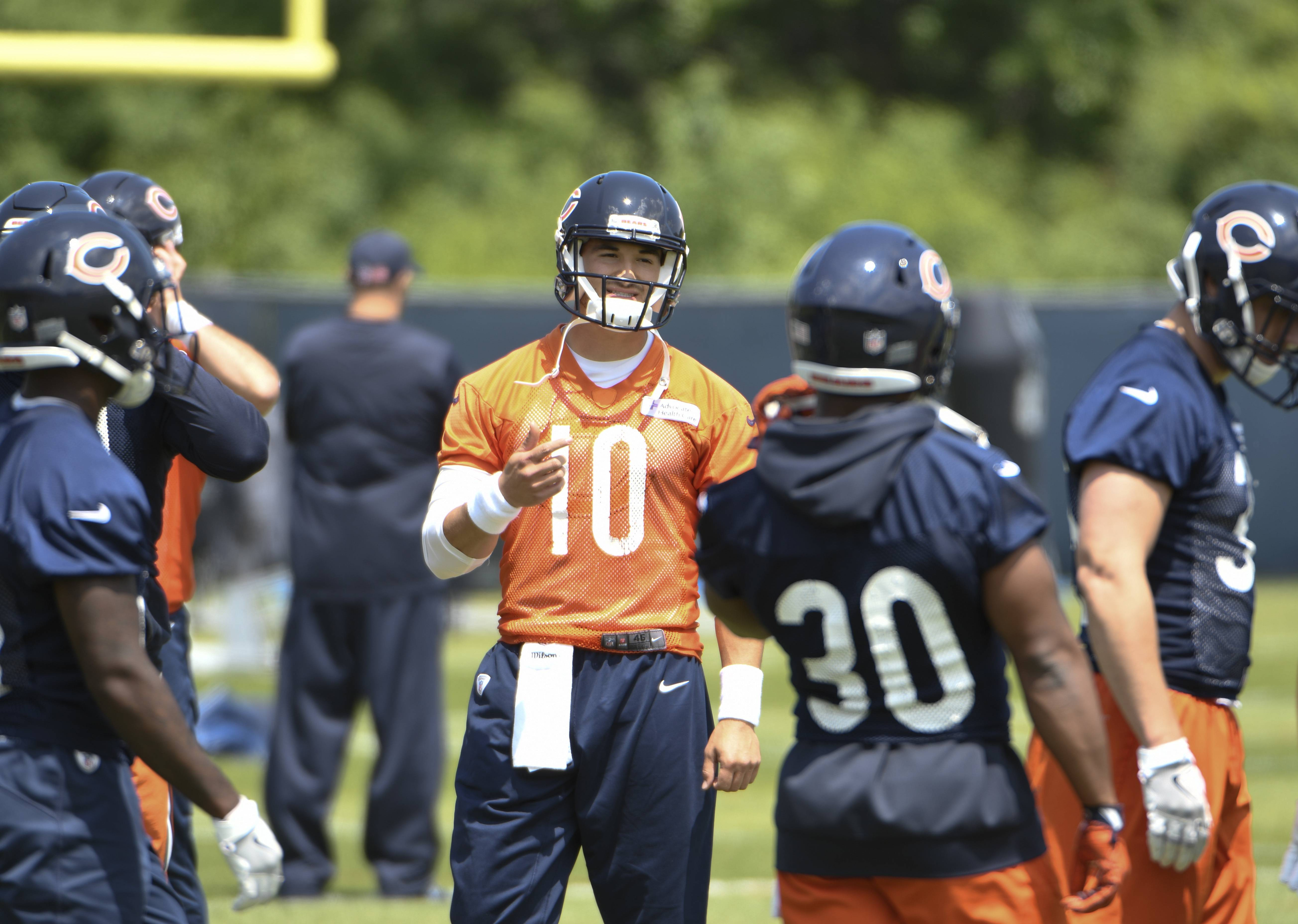 "Chicago Bears quarterback Mitchell Trubisky (10) says the offense is making good progress, and ""we all believe in coach Nagy's plan."""
