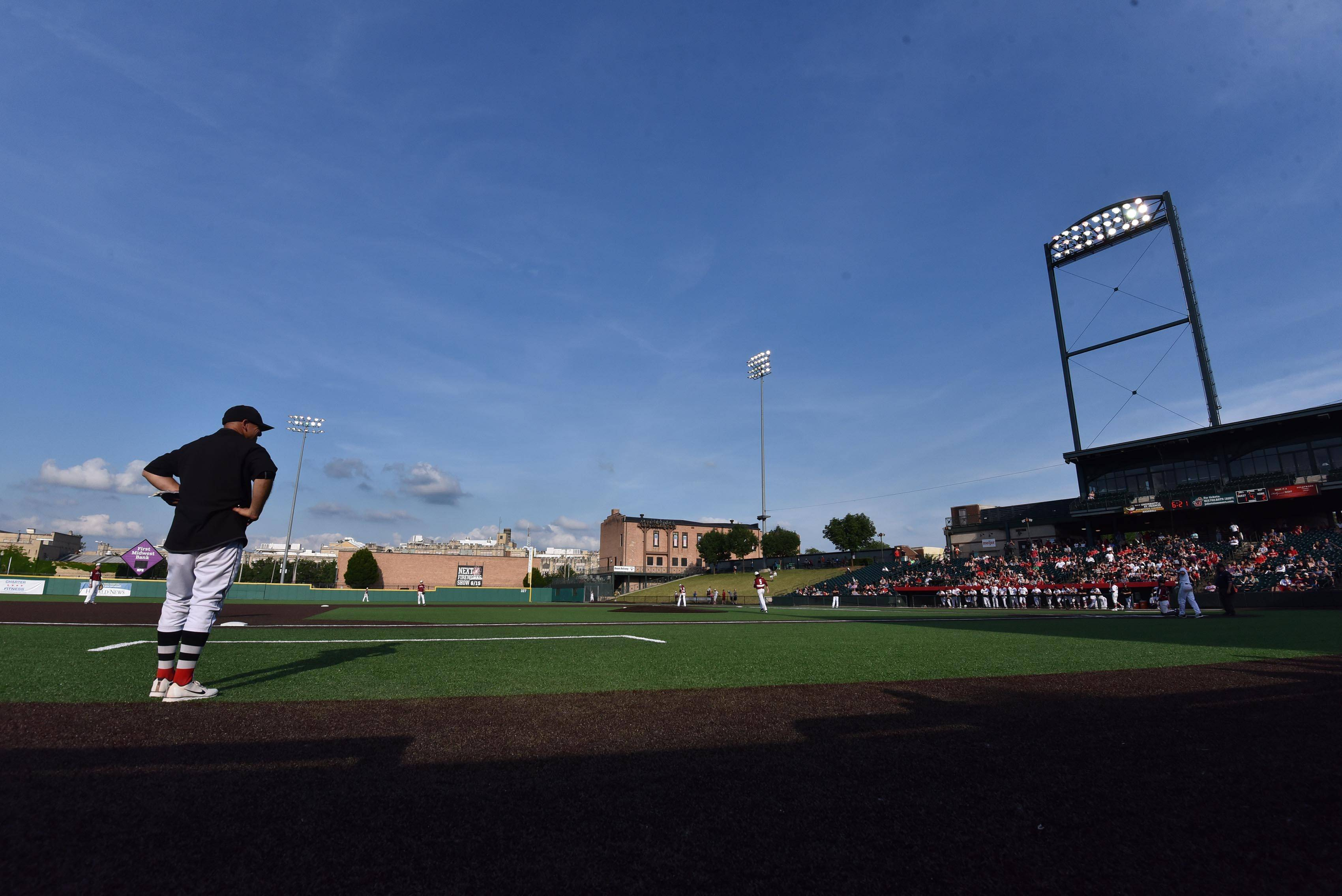Huntley coach Andy Jakubowski watches from the coach's third base box against Plainfield North in the Class 4A baseball state championship game at Route 66 Stadium in Joliet on Saturday.