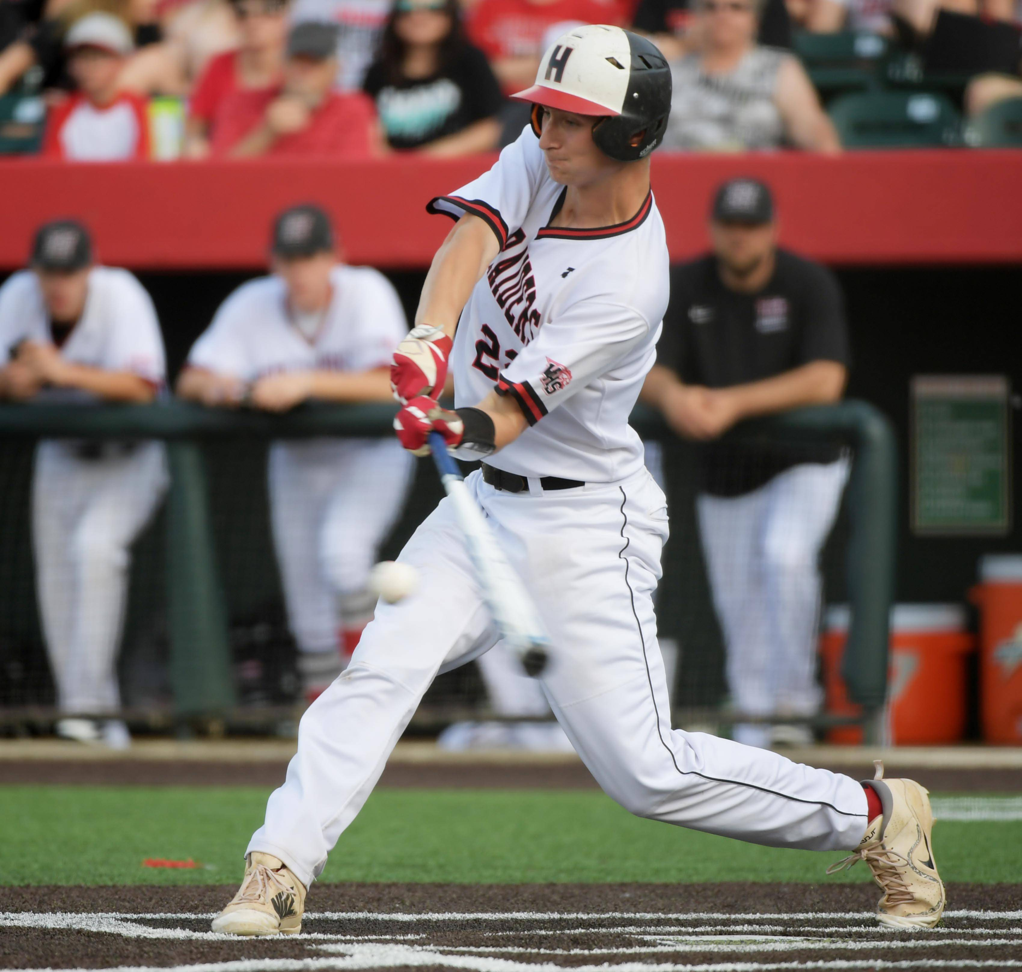 Huntley's Hunter Rumachik connects for a hit in the second inning against Plainfield North in the Class 4A baseball state championship game at Route 66 Stadium in Joliet on Saturday.