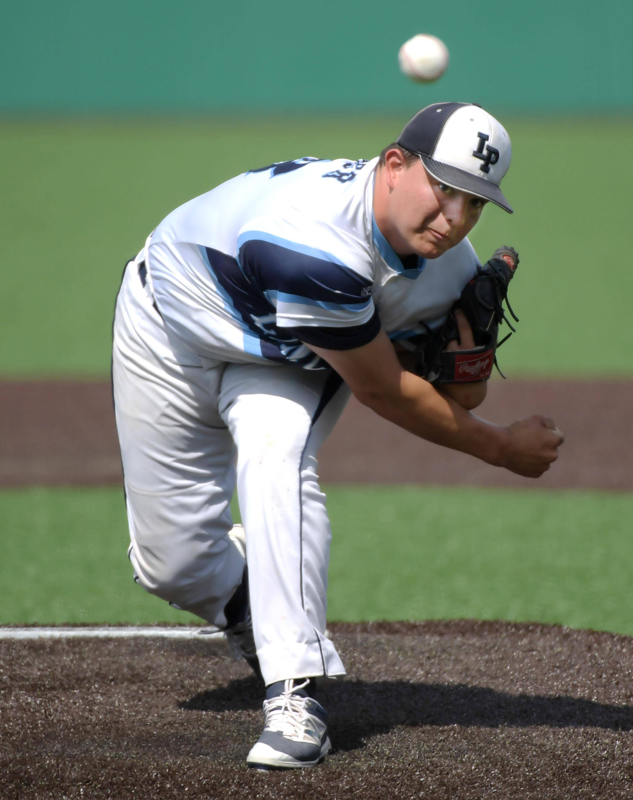 Lake Park starting pitcher Jay Palmer throws against Sandburg in the Class 4A state baseball third place game at Route 66 Stadium in Joliet Saturday.