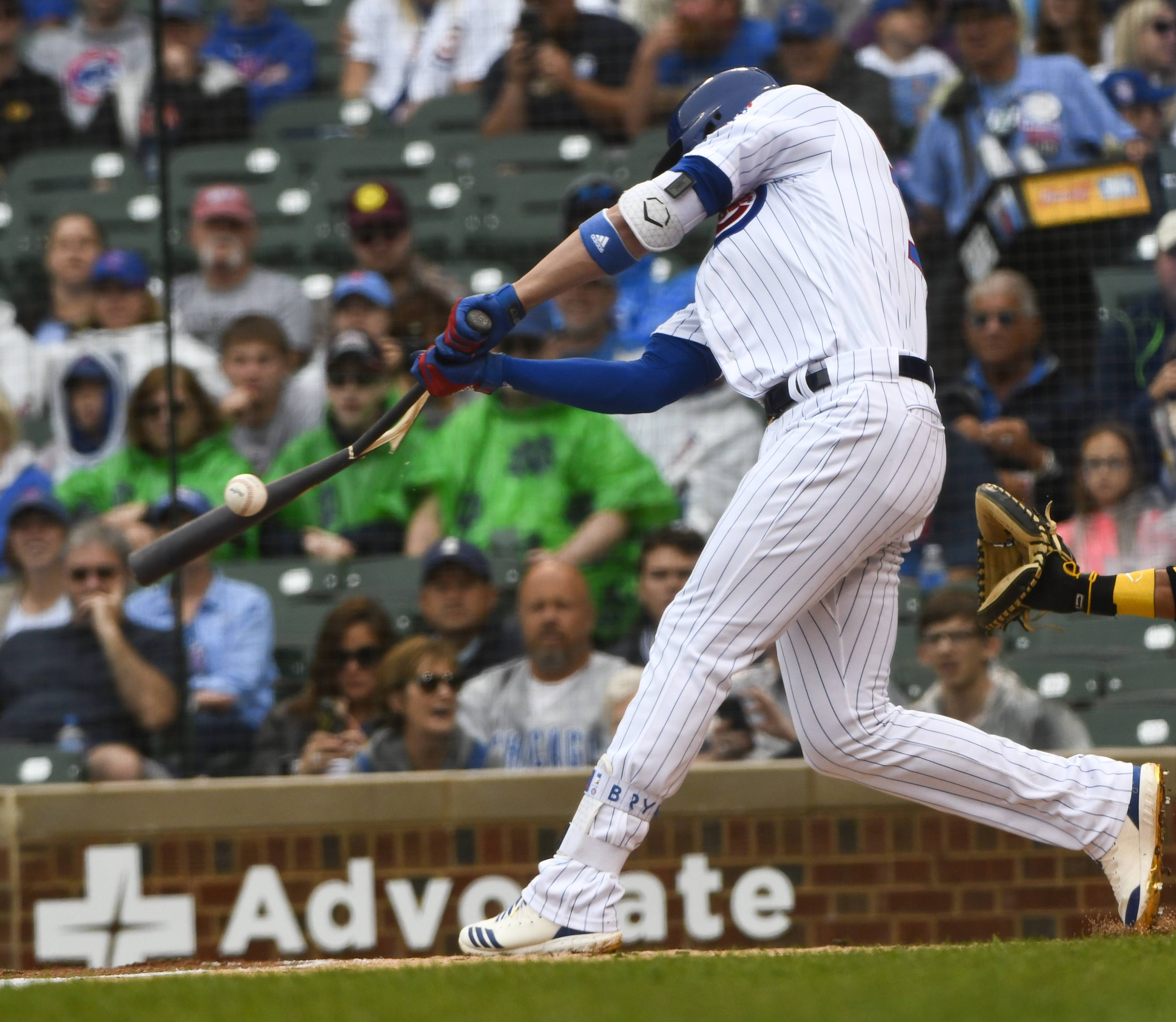 Chicago Cubs' Kris Bryant breaks his bat while hitting during the first inning of a baseball game against the Pittsburgh Pirates, Sunday, June 10, 2018, in Chicago.