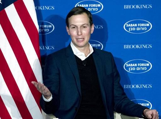 FILE - In this Dec. 3, 2017, file photo, White House Senior Adviser Jared Kushner speaks during the Saban Forum 2017 in Washington. The White House says President Donald Trump's Mideast negotiating team will visit the region next week to promote its as-yet unveiled Israeli-Palestinian peace plan and hold talks on deteriorating conditions in the Gaza Strip. The trip comes as officials say the Trump administration is finalizing the plan for possible release this summer. ( AP Photo/Jose Luis Magana, file)