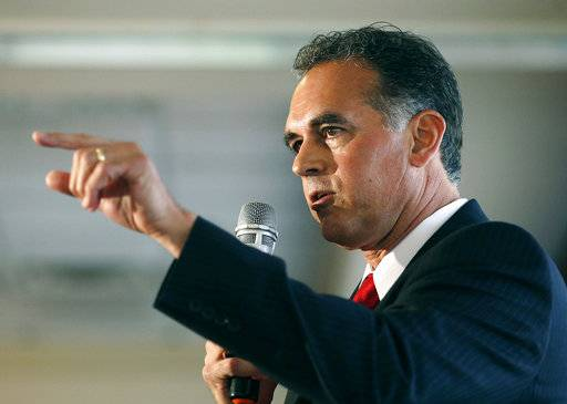 FILE - In this April 26, 2016 file photo, Danny Tarkanian participates in a Republican debate for Nevada's 3rd Congressional District in Henderson, Nev. The most closely-watched race in Nevada's primary election Tuesday, June 12, 2018, is the battle for governor. U.S. Sen. Dean Heller is the only GOP senator seeking re-election in a state won by Democrat Hillary Clinton in 2016. He is expected to breeze through his primary after President Donald Trump asked his main opponent, Tarkanian, to run for Congress instead.