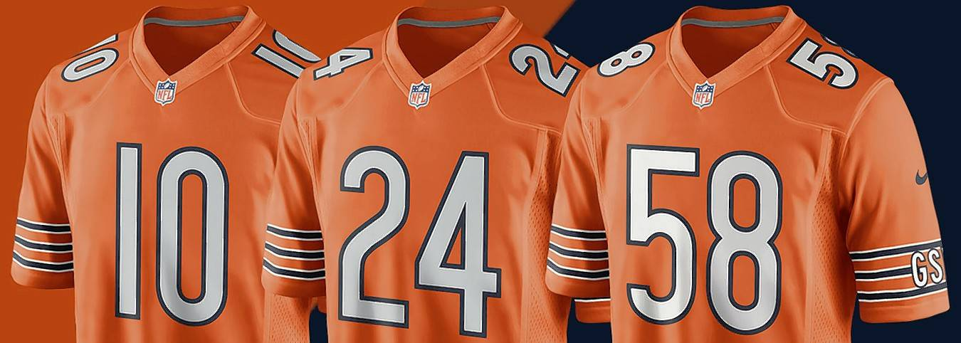 The Chicago Bears will wear orange jerseys this season. The jerseys are available for sale online today.