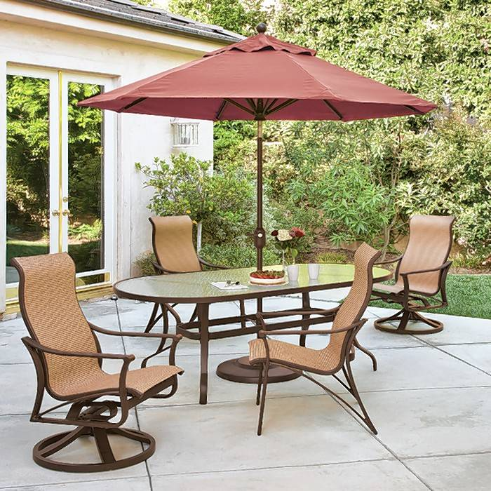 Northwest Metalcraft in Arlington Heights has many dining sets and umbrellas from which to choose.