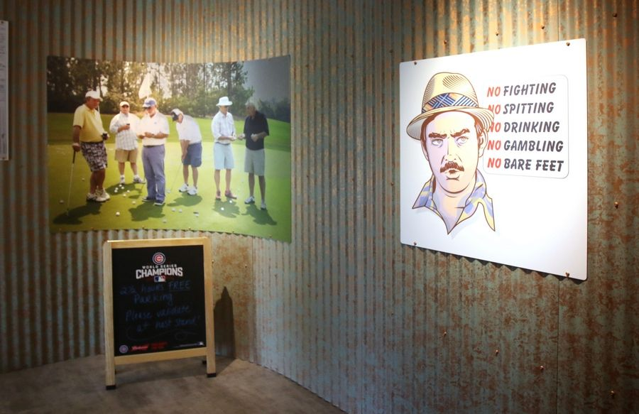Movie memorabilia decorates the entryway at Murray Bros. Caddyshack in Rosemont.