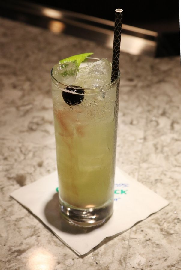 Spaulding's Downfall contains Hendrick's gin, cucumber syrup and prosecco.