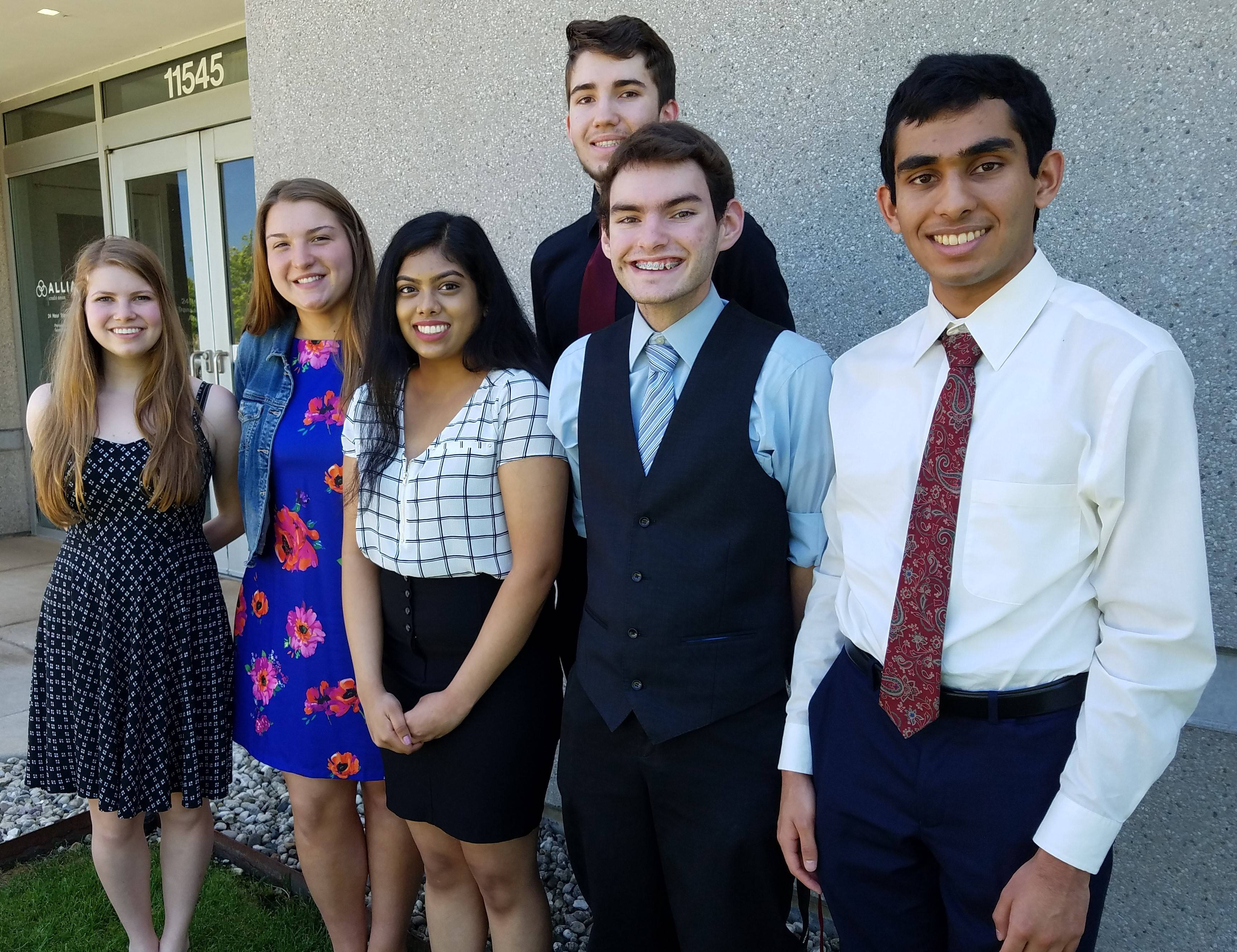 The 2018 recipients for the Des Plaines Community Foundation scholarships are Michael Bilotich, Caty Buchaniec and Bhagirath Mehta from Maine West High School; Hazel Patel from Maine East High School, and Hannah Siebert from Elk Grove High School. Zack Nelson received the Sadie Rose Leadership Award.