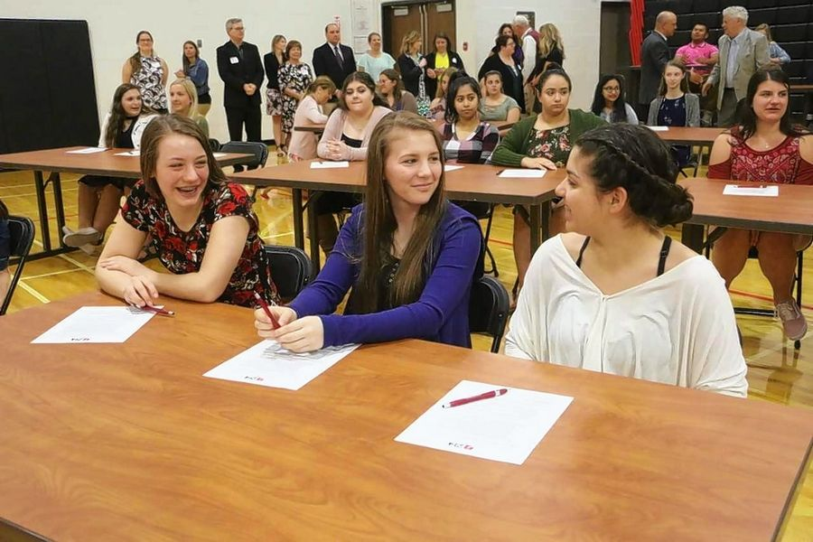 Students from across District 214 gathered in May to sign letters of intent to become teachers. The signing ceremony, one part of District 214's Education Career Pathway, was held at the Forest View Education Center and brought together 140 students.