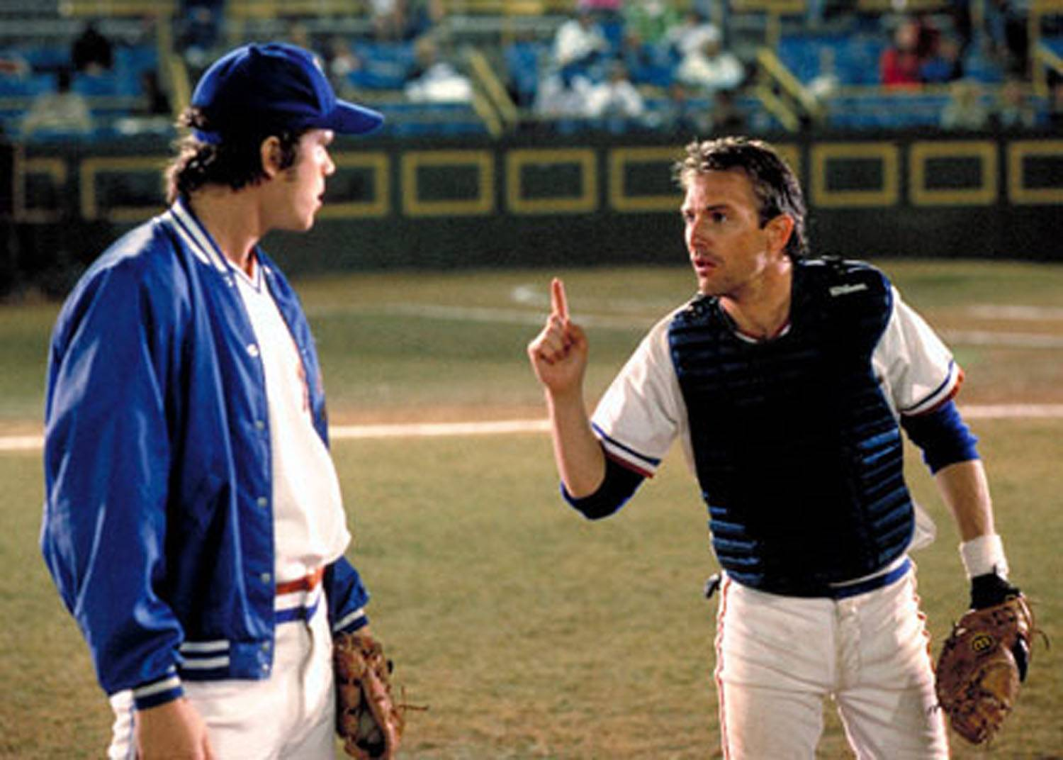 "Nuke LaLoosh (Tim Robbins) gets an earful from Crash Davis (Kevin Costner) in ""Bull Durham."""