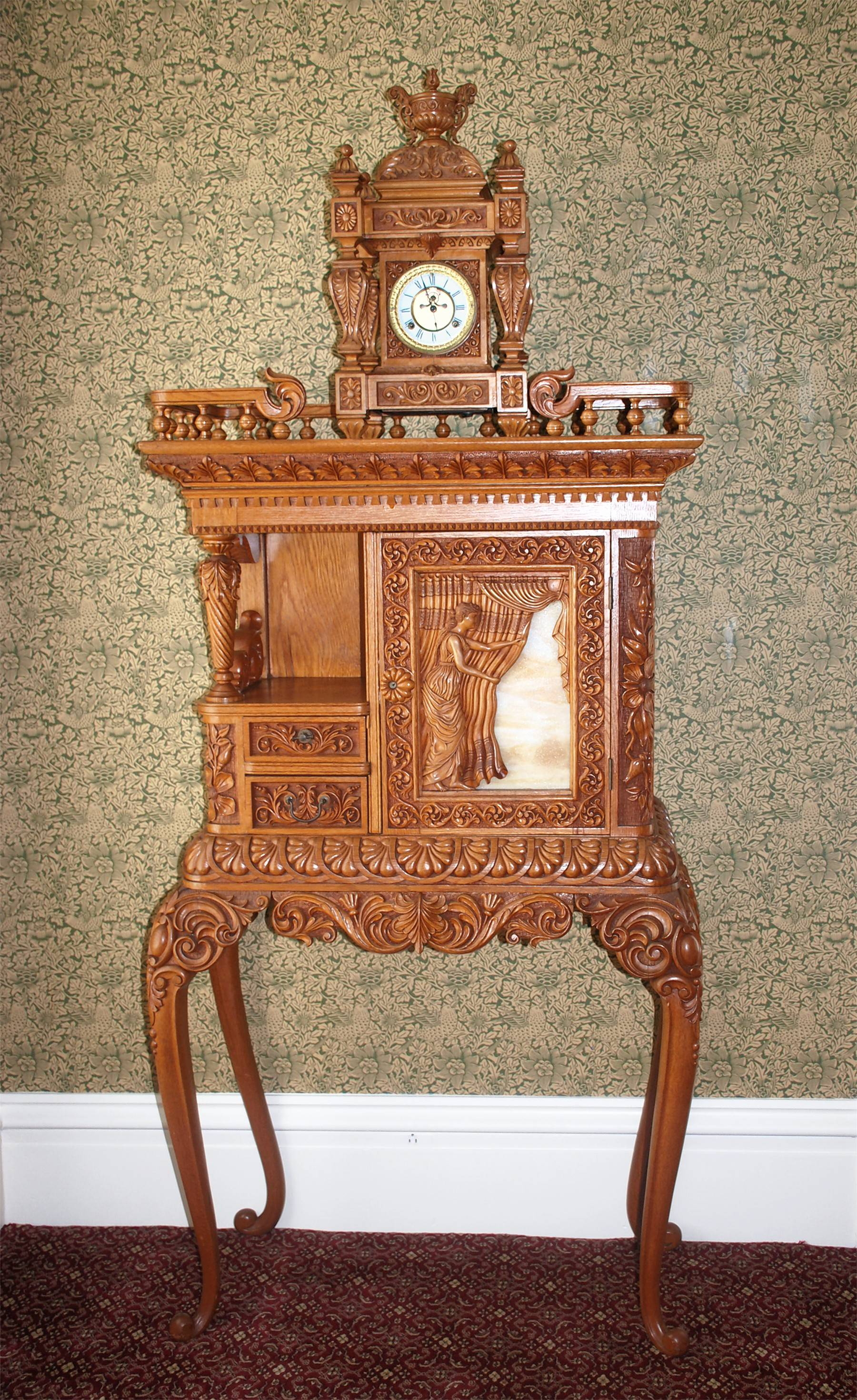 A farmer in Carthage carved this intricate furniture piece for Chicago's Columbian Exposition and then they were donated to the state while Gov. John Altgeld was in office (1893-1897). They now adorn a bedroom dedicated to the 1890s.