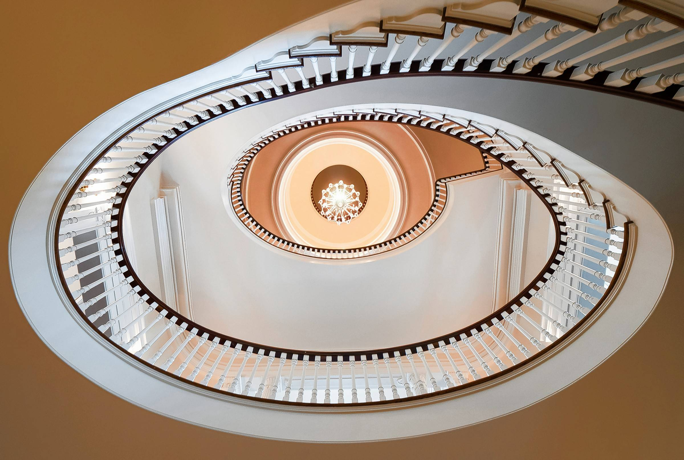 The mansion's original cupola can still be seen from the grand circular staircase inside.