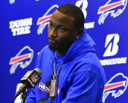 FILE - In this Dec. 17, 2017, file photo, Buffalo Bills running back LeSean McCoy (25) speaks with the media following an NFL football game against the Miami Dolphins, in Orchard Park, N.Y. LeSean McCoy says an allegation posted on social media accusing him of bloodying his former girlfriend's face is baseless and false. An Instagram post Tuesday, July 10, 2018, from a person who says she is friends with the woman showed a graphic photo of the former girlfriend and accuses McCoy of physically abusing her, his son and his dog, as well as injecting steroids.