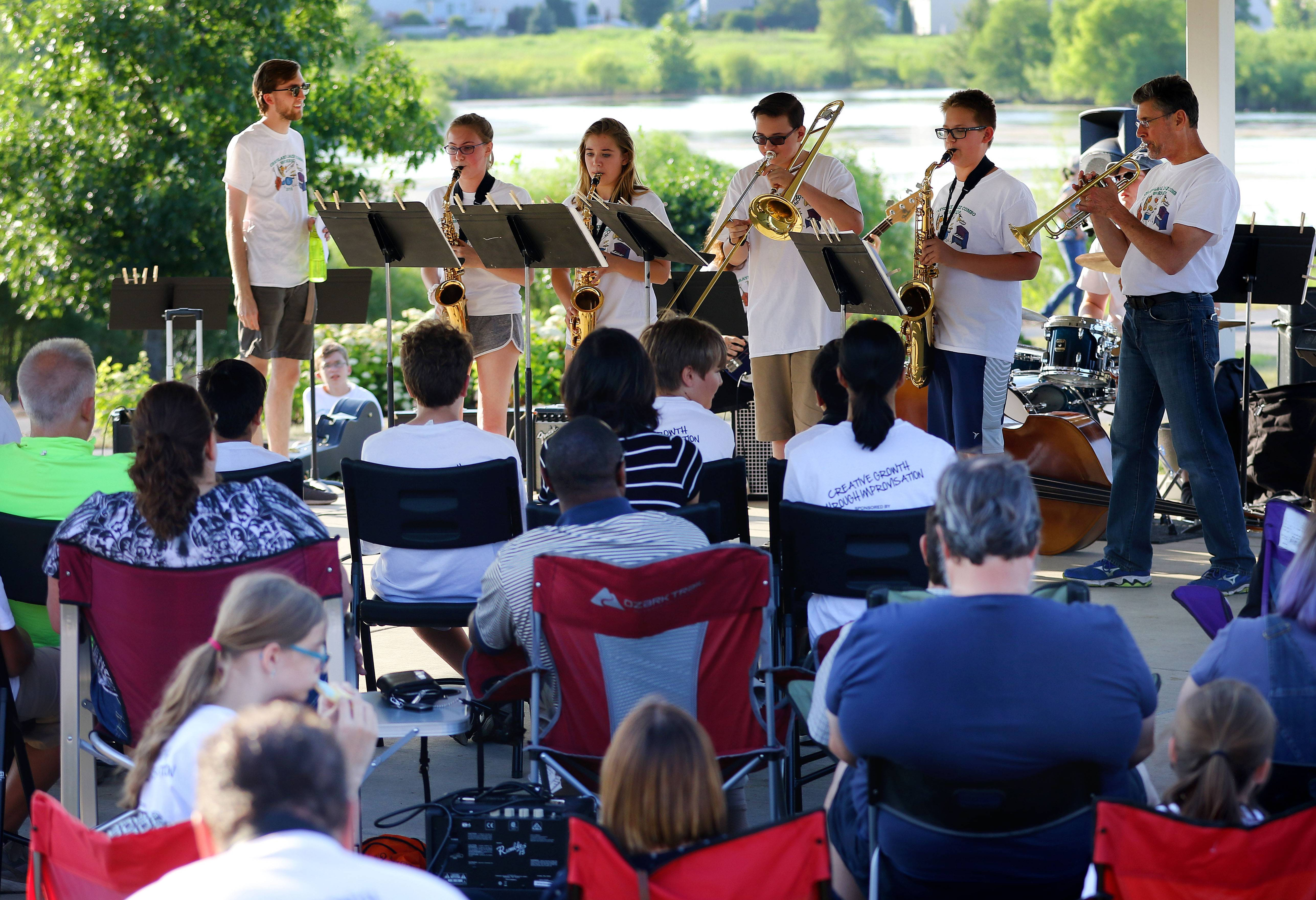 Members of the Grayslake Jazz Combo Workshop perform in the gazebo Wednesday evening during Midweek Break on the Lake at the Round Lake Beach Cultural Center.