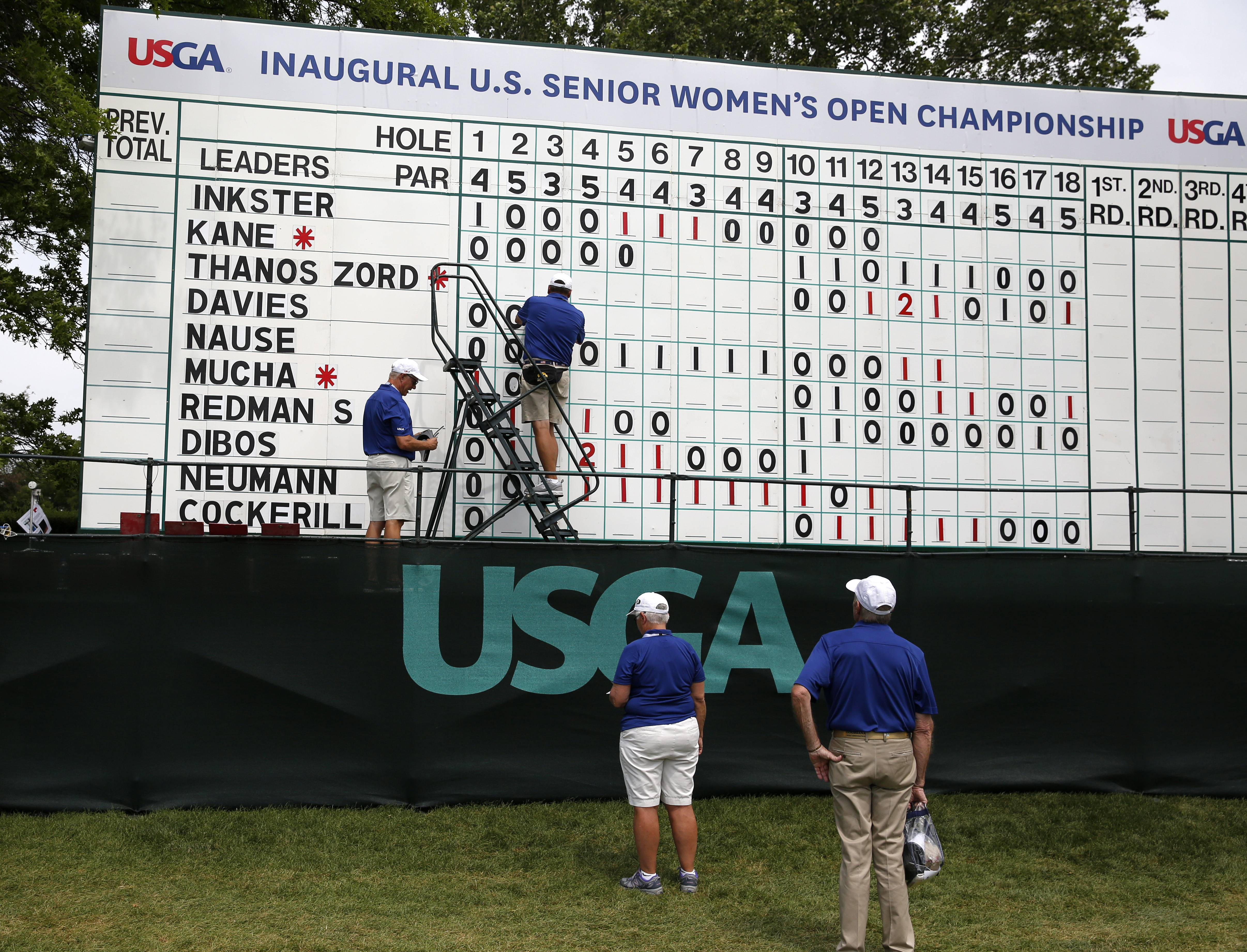 Volunteers at the Chicago Golf Club in Wheaton monitor the leaderboard during Thursday's opening round of the first U.S. Senior Women's Open Championship.
