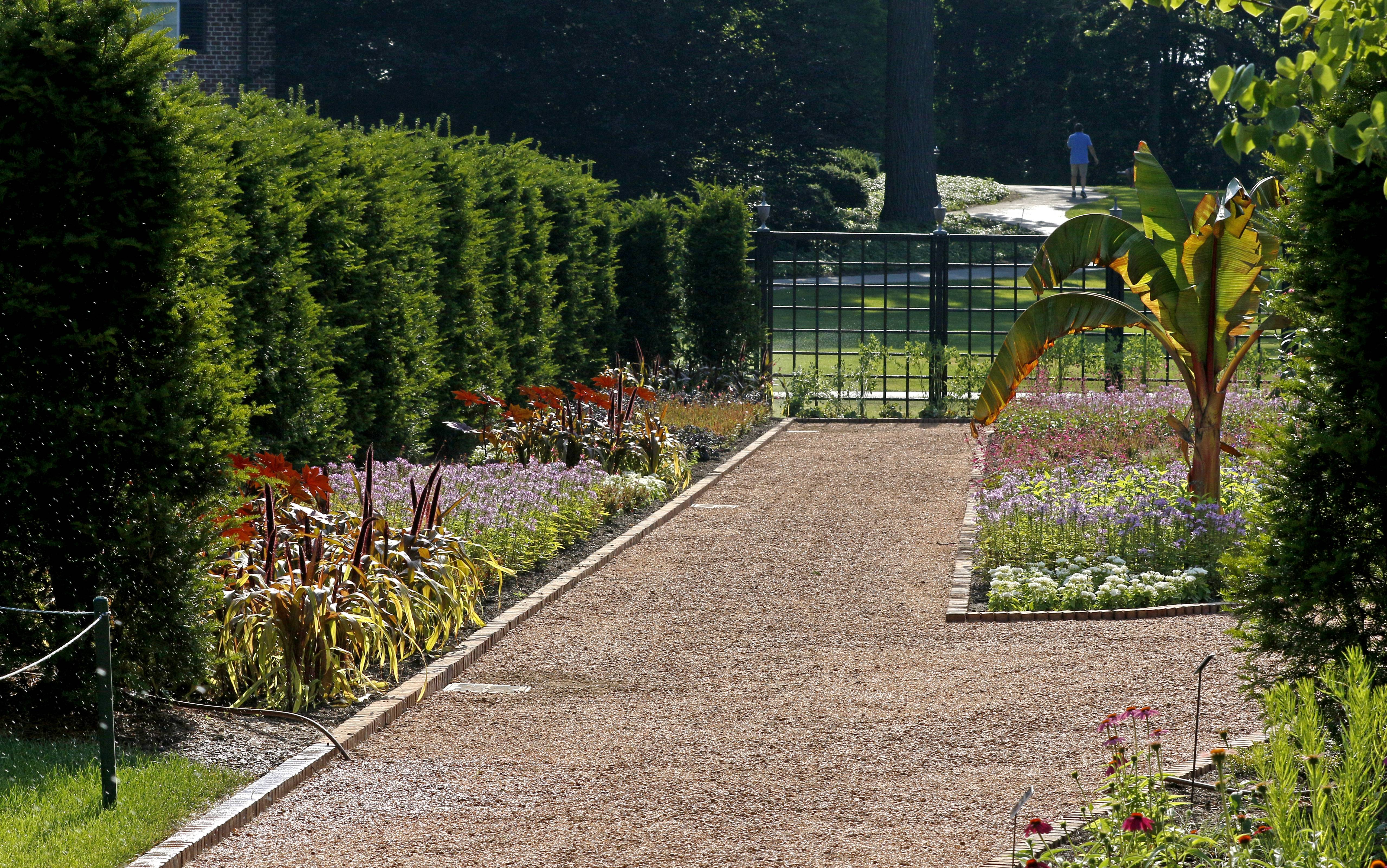 Wide pathways in the display gardens are ADA-compliant.