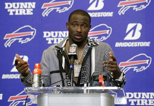 FILE - In this Sept. 24, 2017, file photo, Buffalo Bills running back LeSean McCoy talks to reporters after an NFL football game against the Denver Broncos, in Orchard Park, N.Y. McCoy says an allegation posted on social media accusing him of bloodying his former girlfriend's face is baseless and false. An Instagram post Tuesday, July 10, 2018, from a person who says she is friends with the woman showed a graphic photo of the former girlfriend and accuses McCoy of physically abusing her, his son and his dog, as well as injecting steroids.