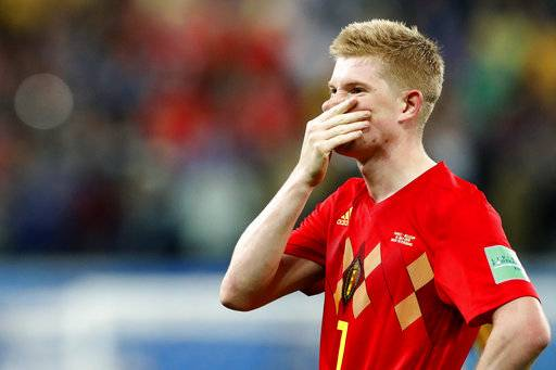 Belgium's Kevin De Bruyne reacts after the semifinal match between France and Belgium at the 2018 soccer World Cup in the St. Petersburg Stadium in, St. Petersburg, Russia, Tuesday, July 10, 2018.