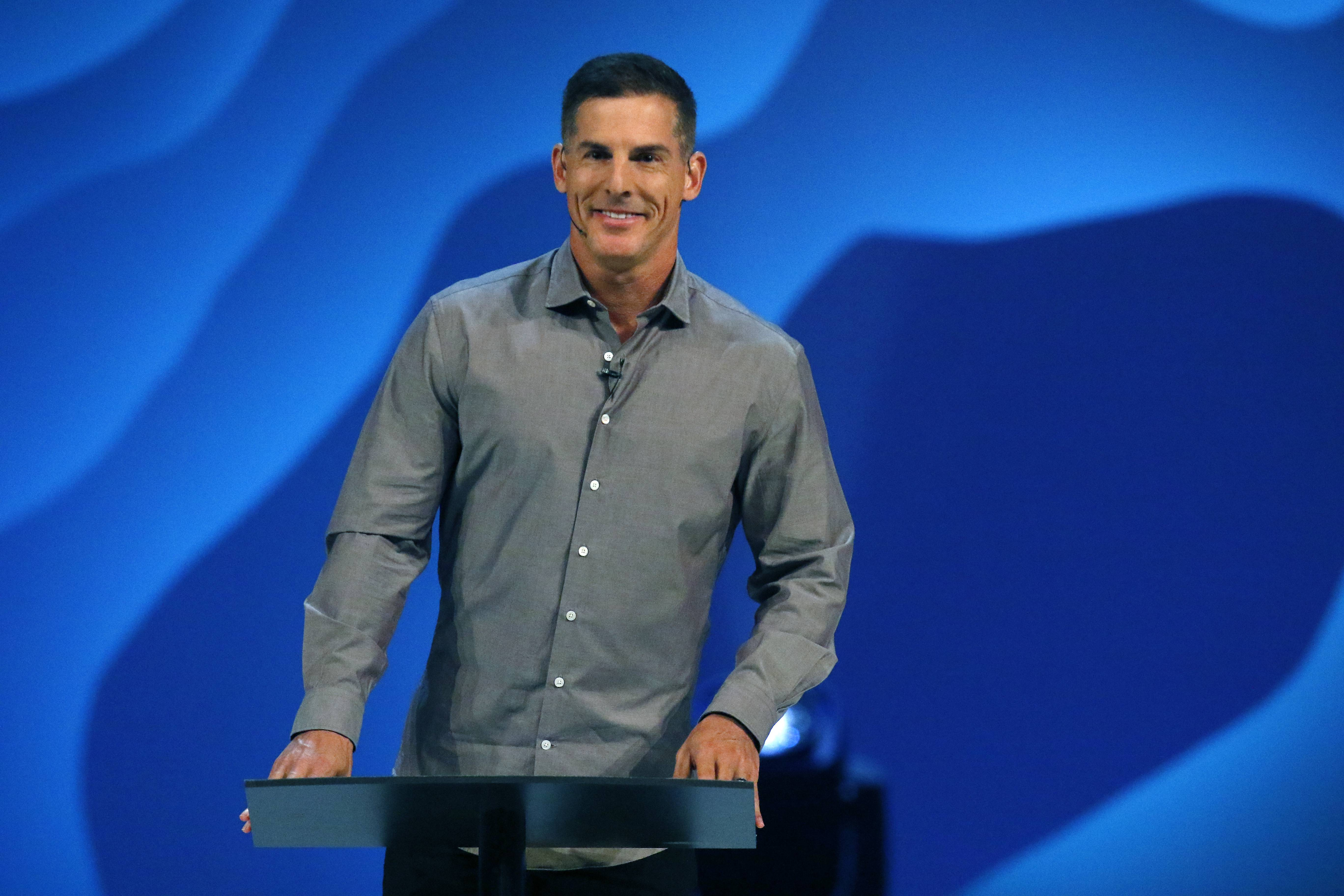 "Craig Groeschel of Life. Church speaks as Willow Creek Community Church hosts its 23rd annual Global Leadership Summit Thursday in South Barrington. He said he's been ""sickened"" by the allegations against church founder Bill Hybels and that power must be used for the good of others. ""Like many of you, I am grieving deeply,"" Groeschel said. ""I hurt. I ache."""