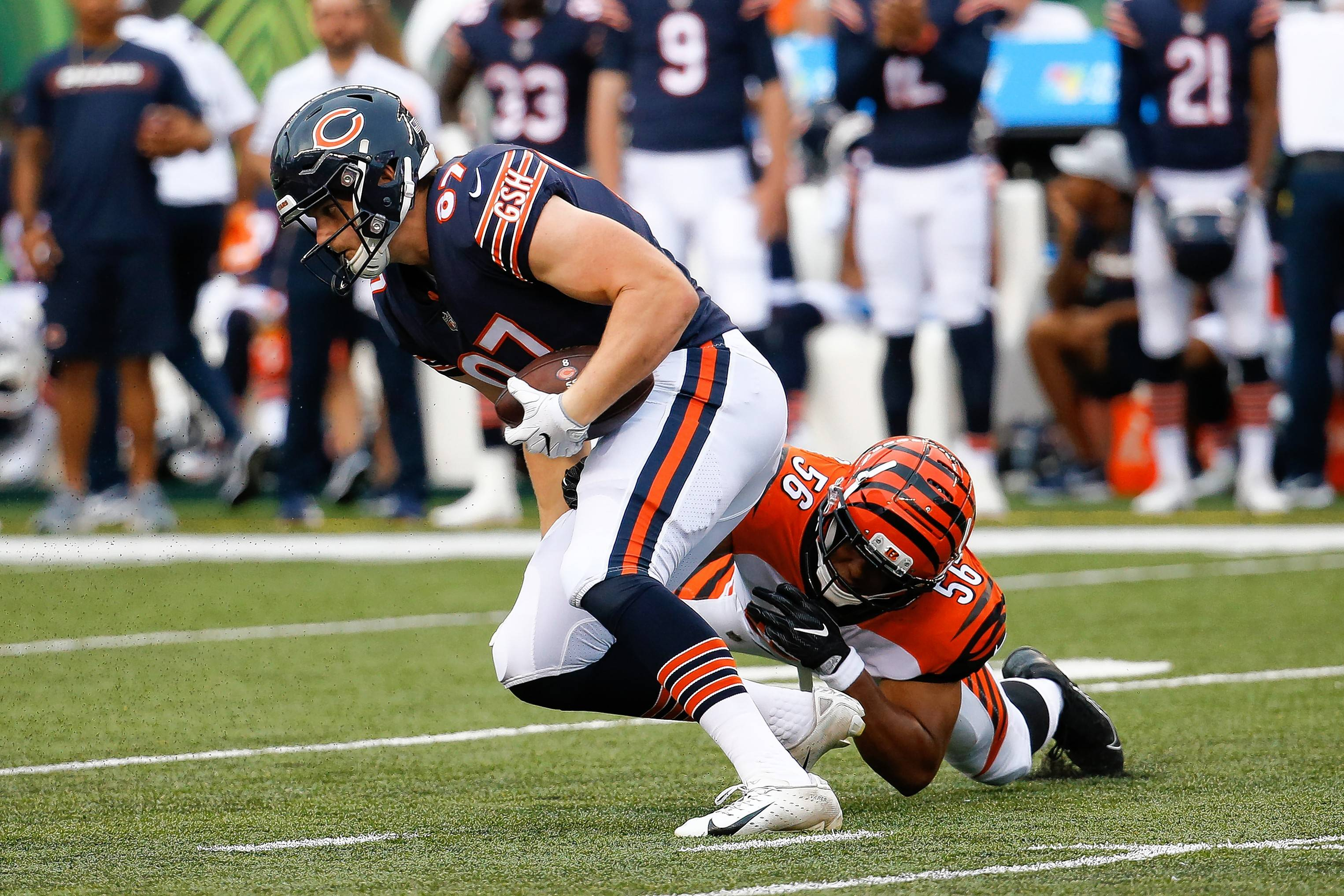 Adam Shaheen looked like the guy the Bears thought they were getting in the second round last year, finding open spots in the middle of the field, showing soft hands and good run-after-the-catch ability. After Chase Daniel replaced Mitch Trubisky late in the first quarter, he led a 72-yard TD drive, utilizing the 6-foot-6, 270-pound Shaheen, who caught 3 passes for 53 yards on just three targets during the march.