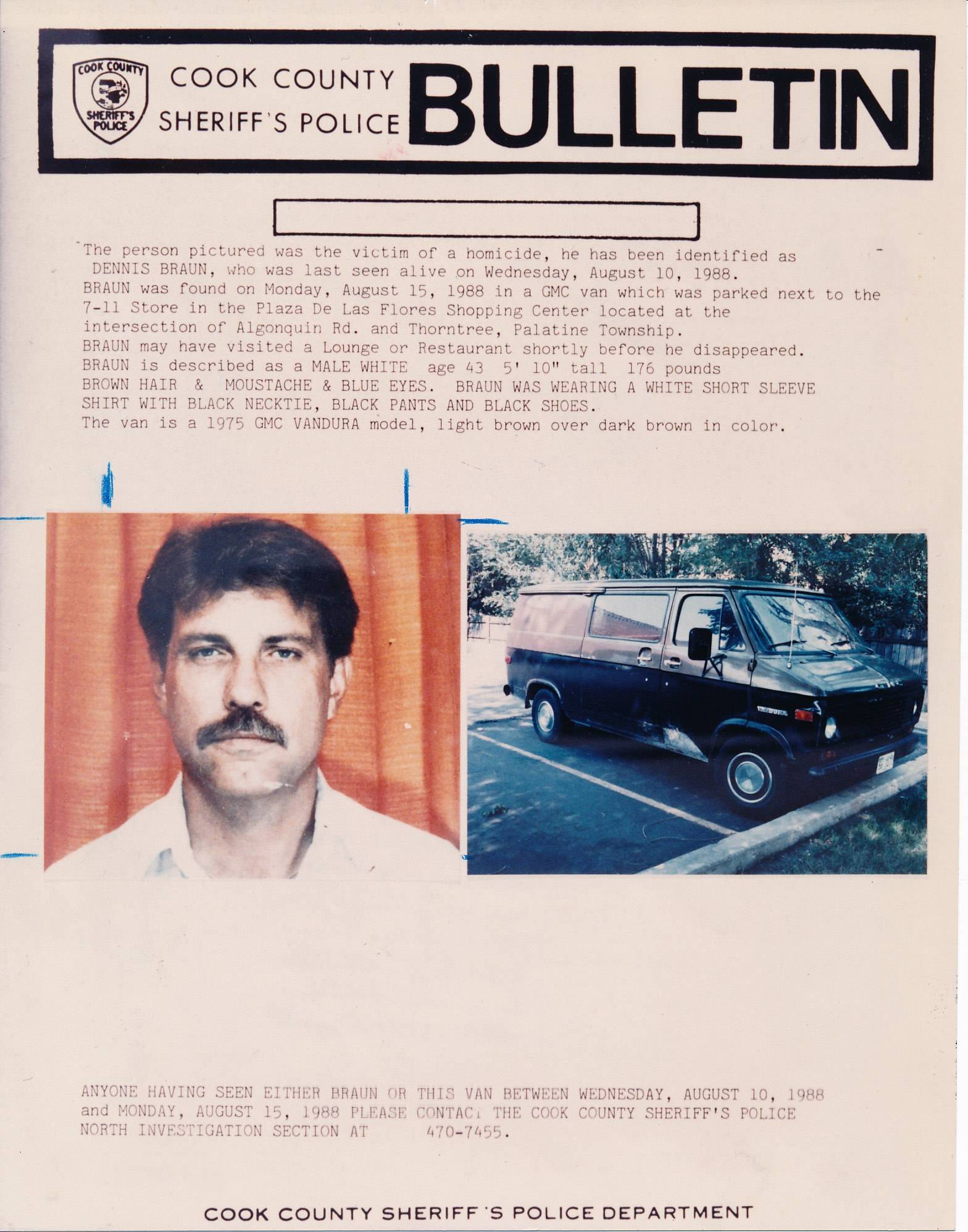 A poster from the Cook County Sheriff's Office describing the 1988 slaying of Dennis Braun in Palatine Township. The case remains unsolved.