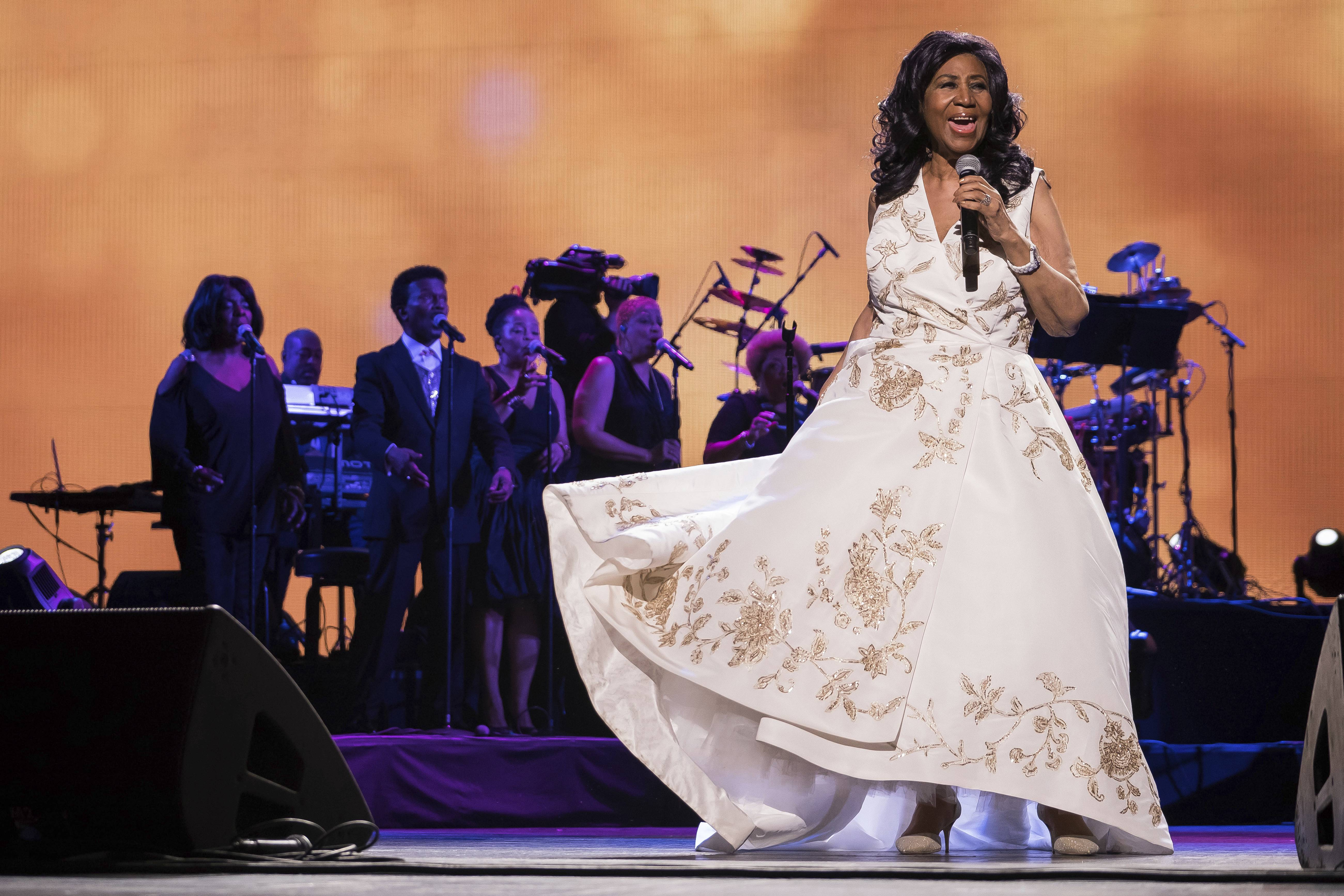 "In this April 19, 2017 file photo, Aretha Franklin performs at the world premiere of ""Clive Davis: The Soundtrack of Our Lives"" at Radio City Music Hall, during the 2017 Tribeca Film Festival, in New York. Franklin died Thursday, Aug. 16, 2018, at her home in Detroit. She was 76."