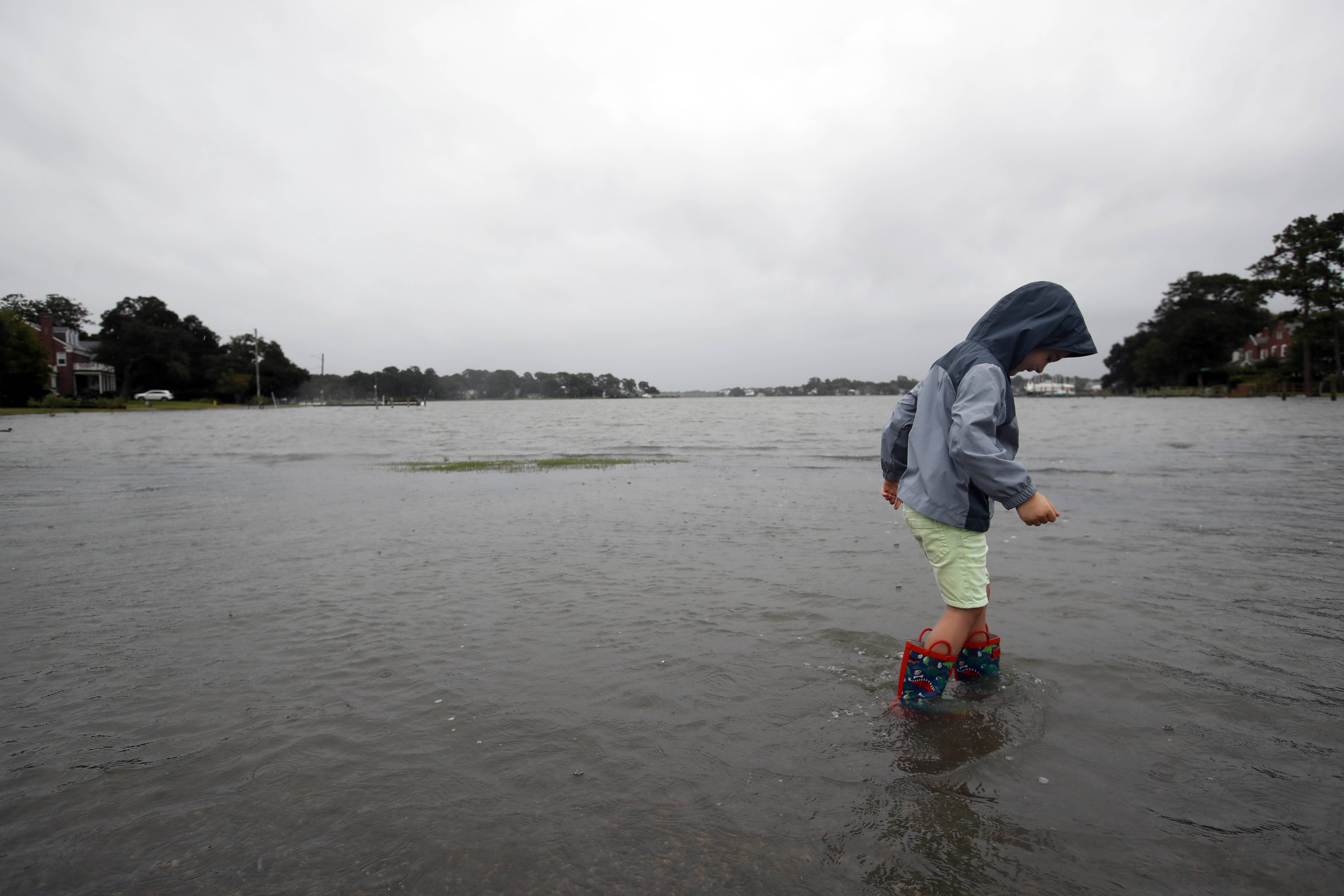 Emmett Marshall, 4, from Norfolk, Va. wades in floodwaters, Friday, Sept. 14, 2018, in the Larchmont area of Norfolk, Va., as the effects of Hurricane Florence are felt.