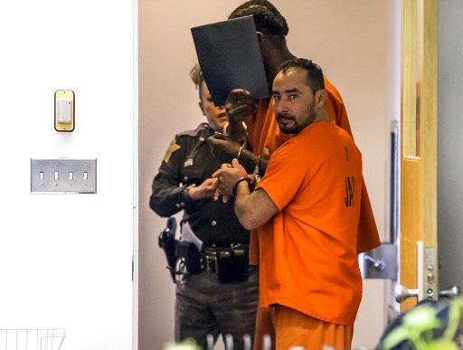 FILE - In this Feb. 7, 2018, file photo, Manuel Orrego-Savala walks out of a courtroom in Indianapolis. Orrego-Savala pleaded guilty Friday, July 20, 2018, for the crash that killed Indianapolis Colts linebacker Edwin Jackson and his Uber driver on Feb. 4, 2018. He is scheduled to be sentenced Sept. 21, 2018. (Mykal McEldowney/The Indianapolis Star via AP, File)  /The Indianapolis Star via AP)