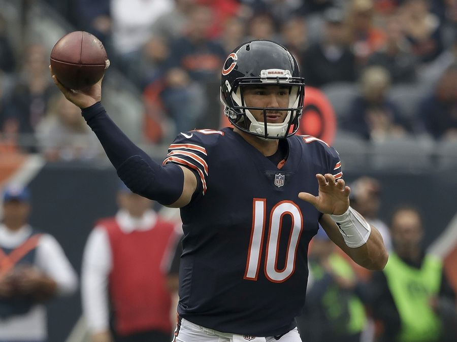 Chicago Bears quarterback Mitchell Trubisky (10) throws during the first half of an NFL football game against the Tampa Bay Buccaneers Sunday, Sept. 30, 2018, in Chicago.