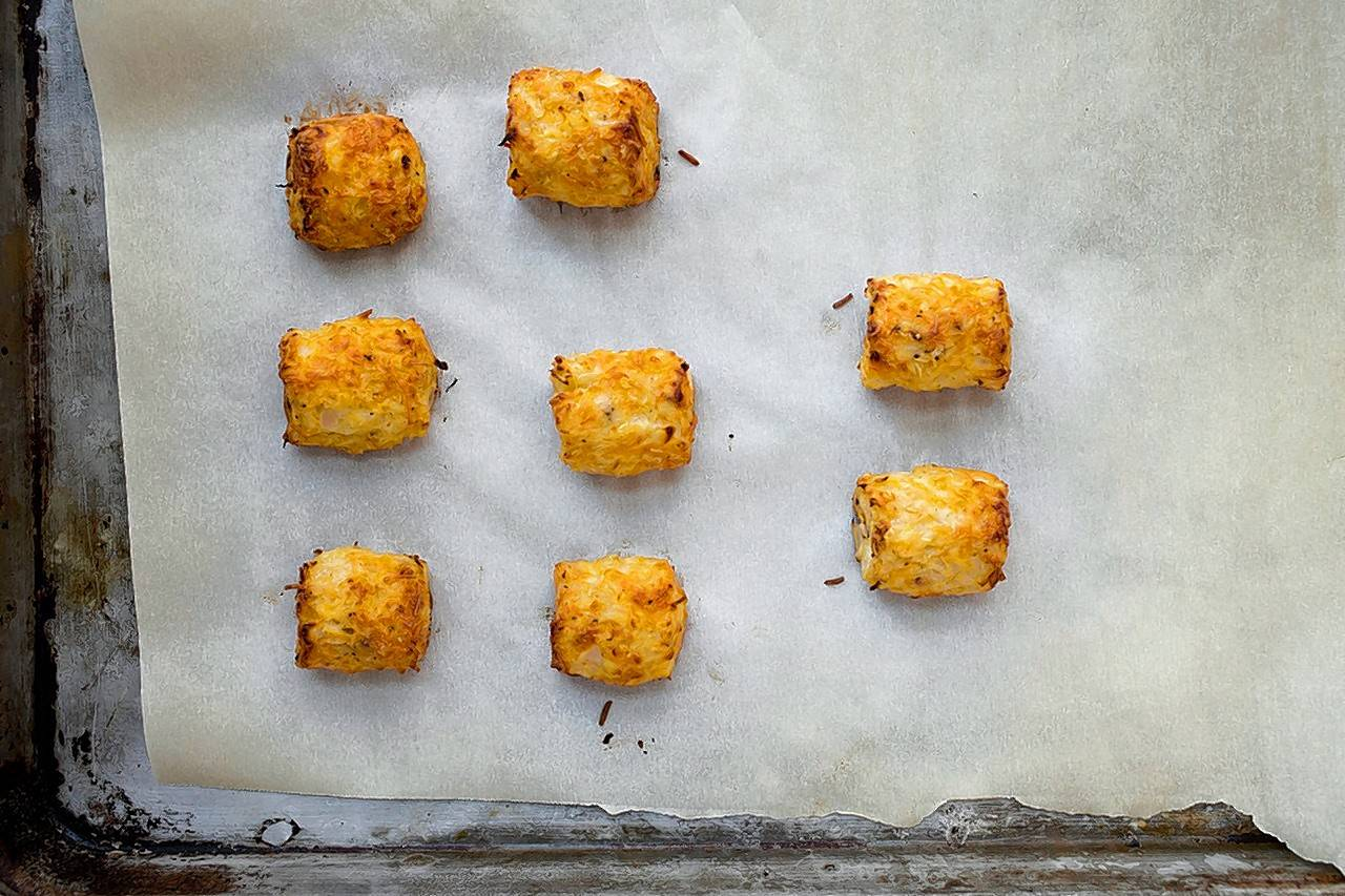 Riced cauliflower tater tots made by Katie Workman.