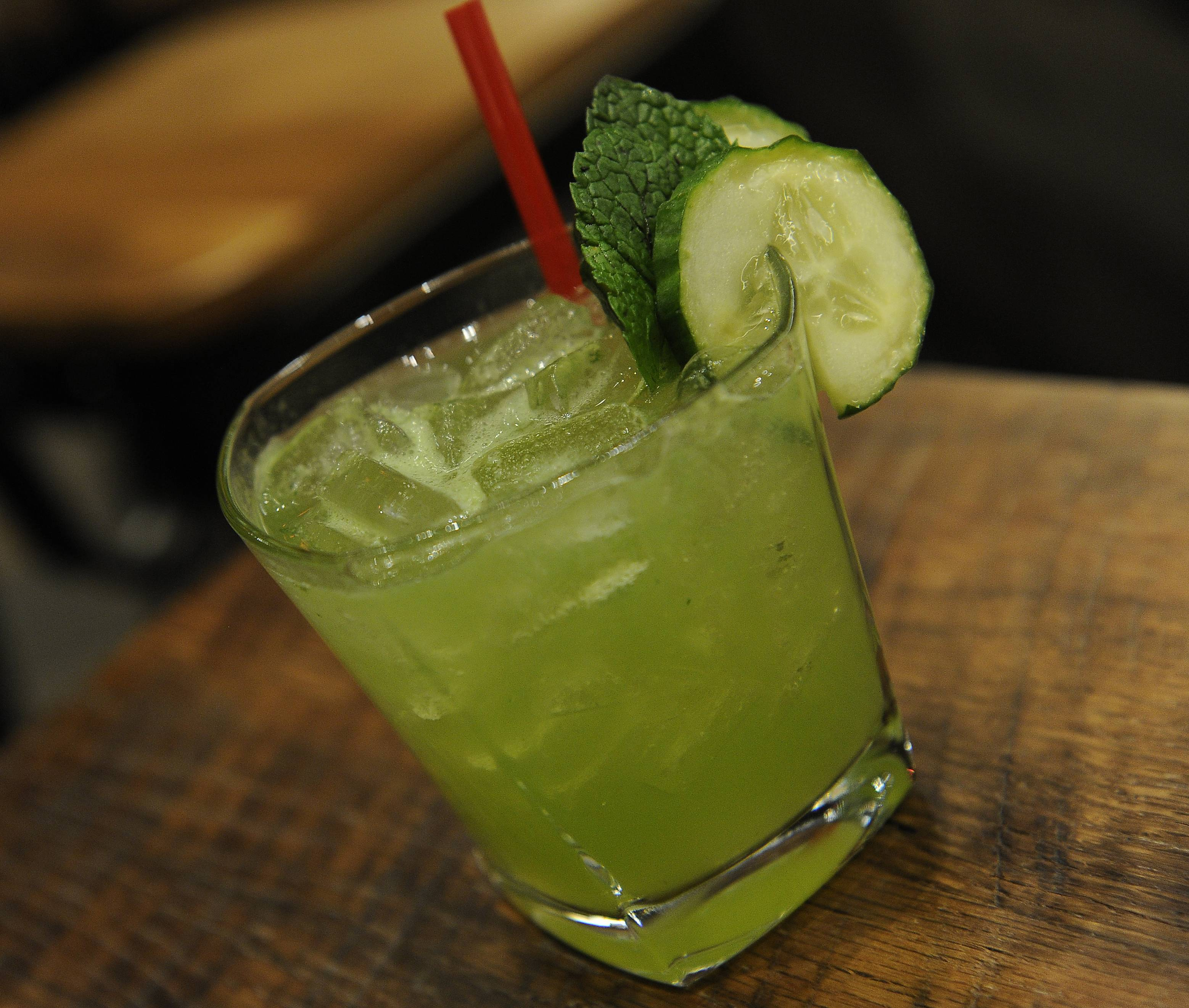 Barnwood's Green Garden combines Aviation gin, midori, fresh cucumber juice, lemon juice and mint.