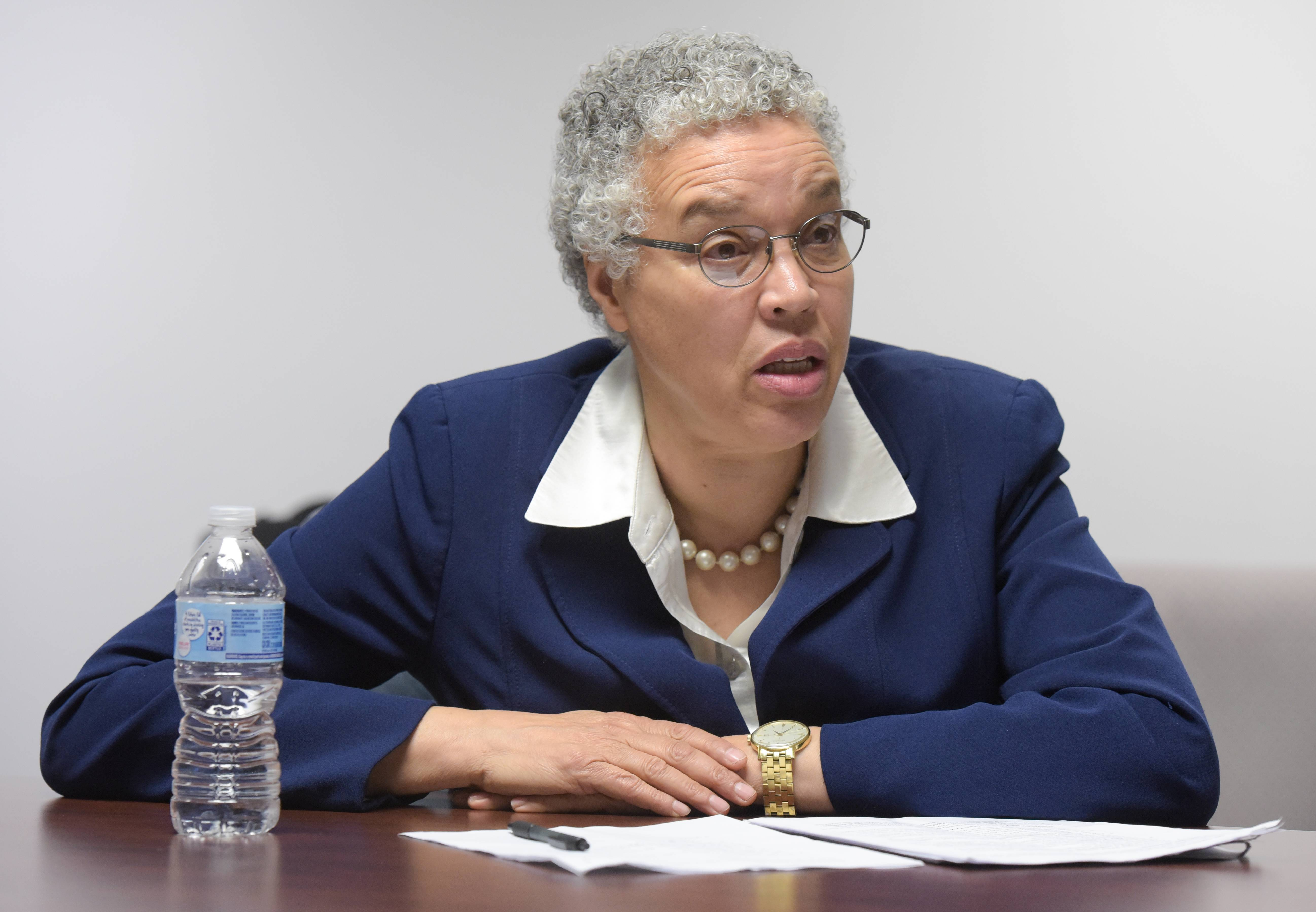 Cook County Board President Toni Preckwinkle, here pictured speaking to the Daily Herald editorial board in February, introduced a new county budget that includes no new taxes.