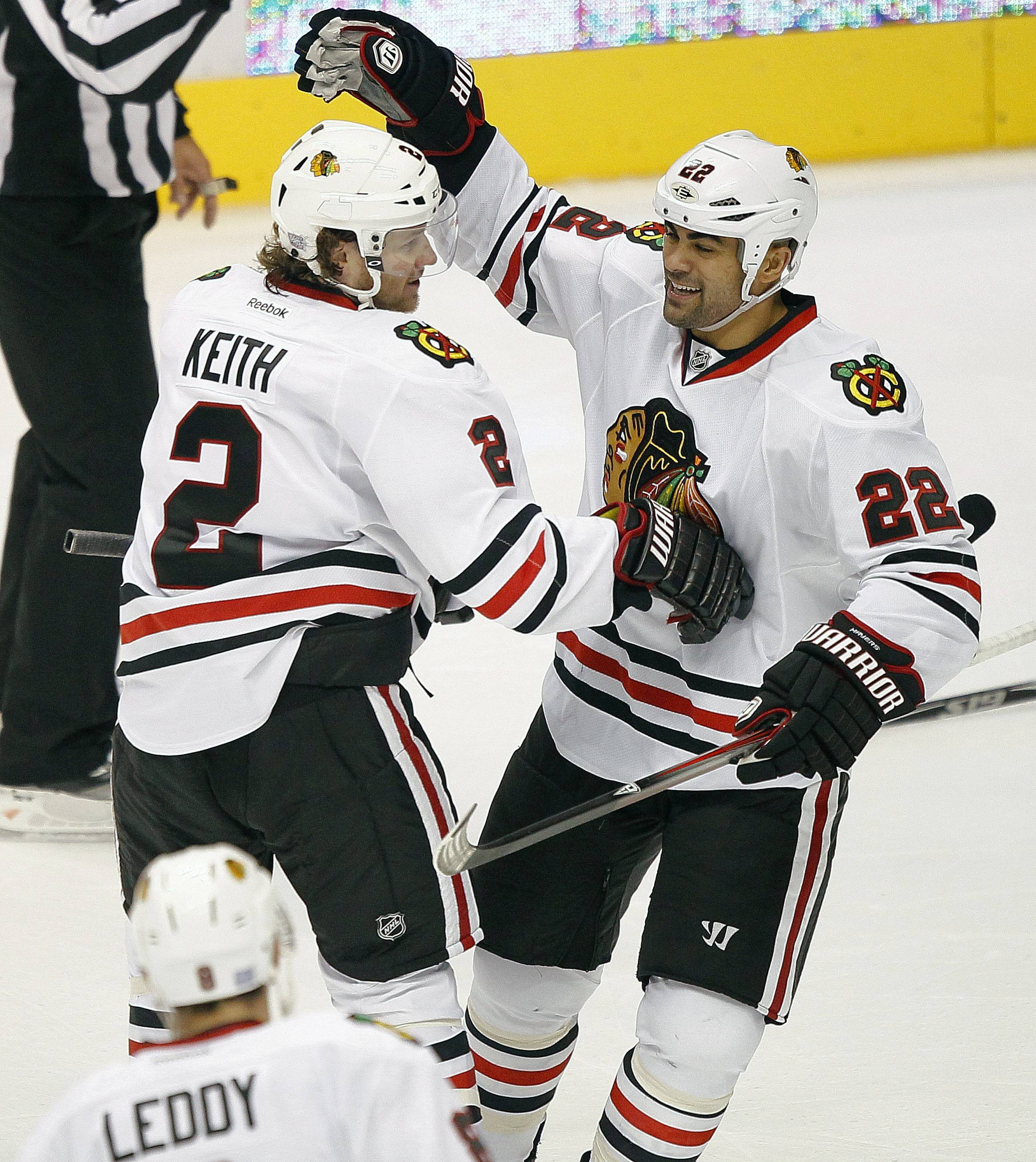 Jamal Mayers, celebrating his goal with Duncan Keith in a 2011 game in Glendale, Arizona, gave an impassioned locker-room speech in 2013 when the Hawks trailed the Detroit Red Wings 3 games to 1 in the playoffs.