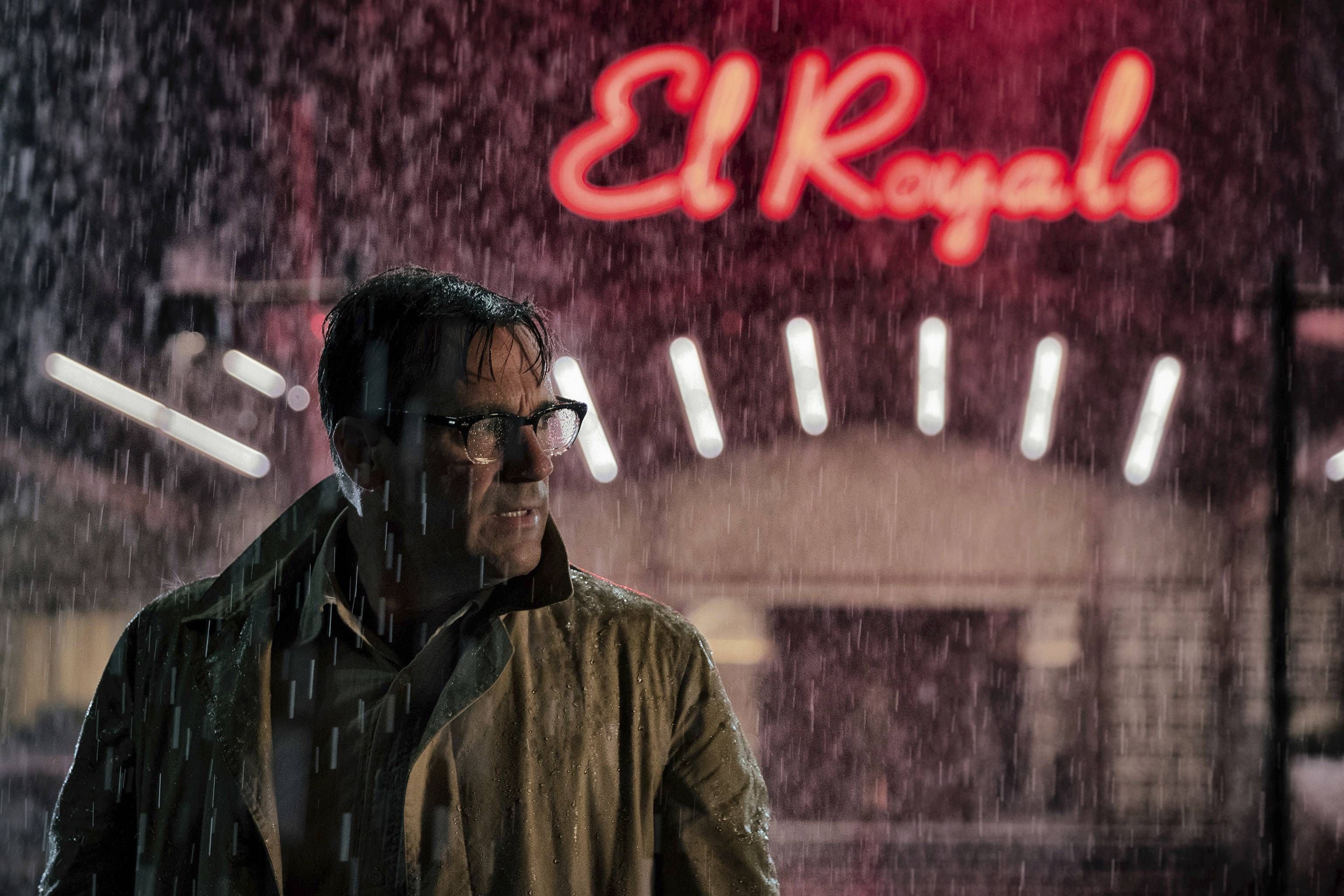 "Jon Hamm plays an FBI man posing as a vacuum salesman from Mississippi in ""Bad Times at the El Royale."""