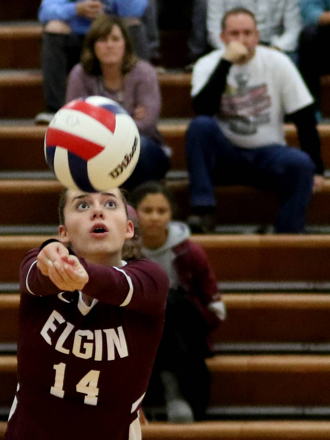 Elgin's Emily Graves passes the ball in varsity girls volleyball at Larkin on Wednesday.