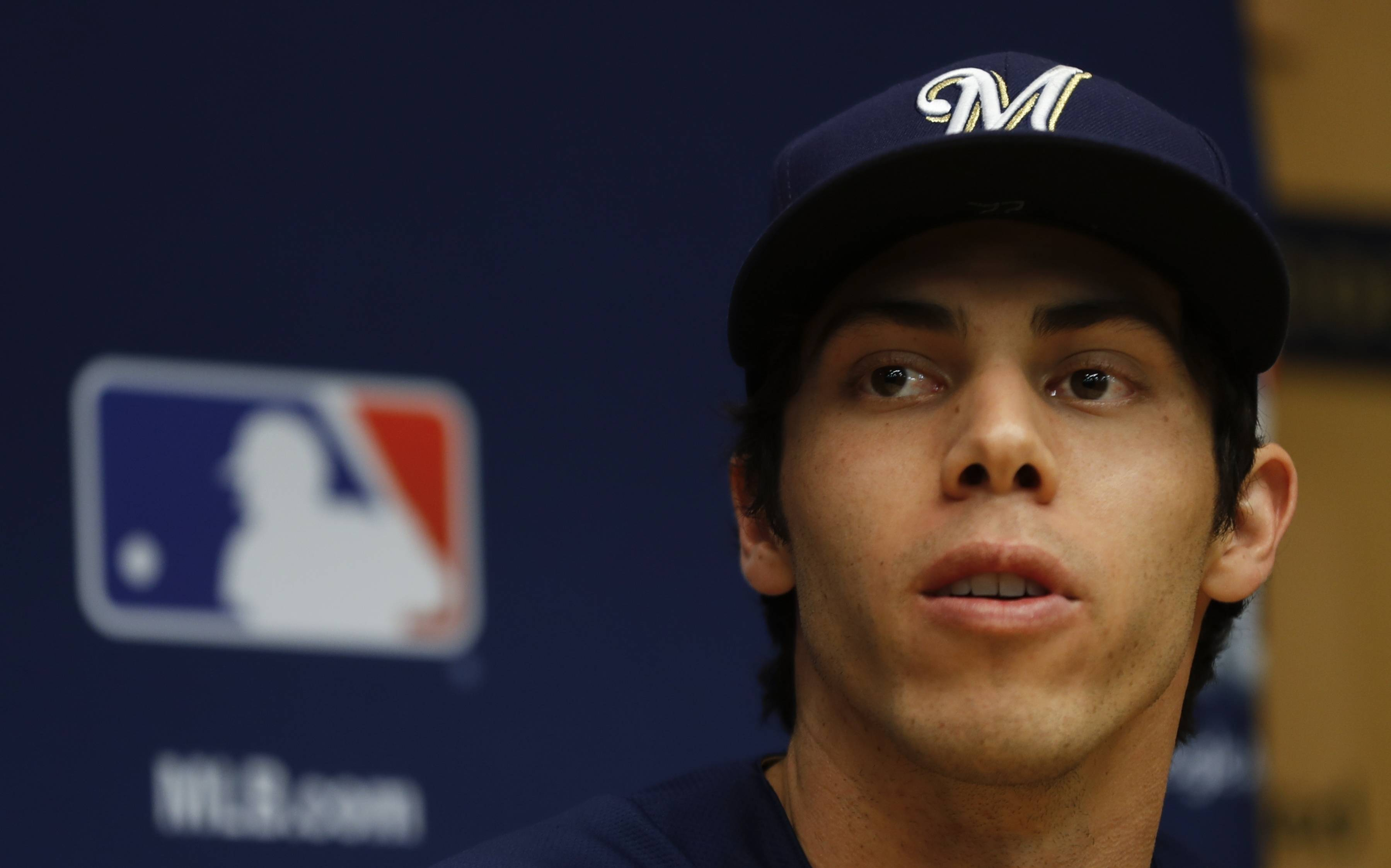 Milwaukee's Christian Yelich meets the media Thursday to answer questions about the Brewers taking on the Los Angeles Dodgers Friday in the National League championship series.