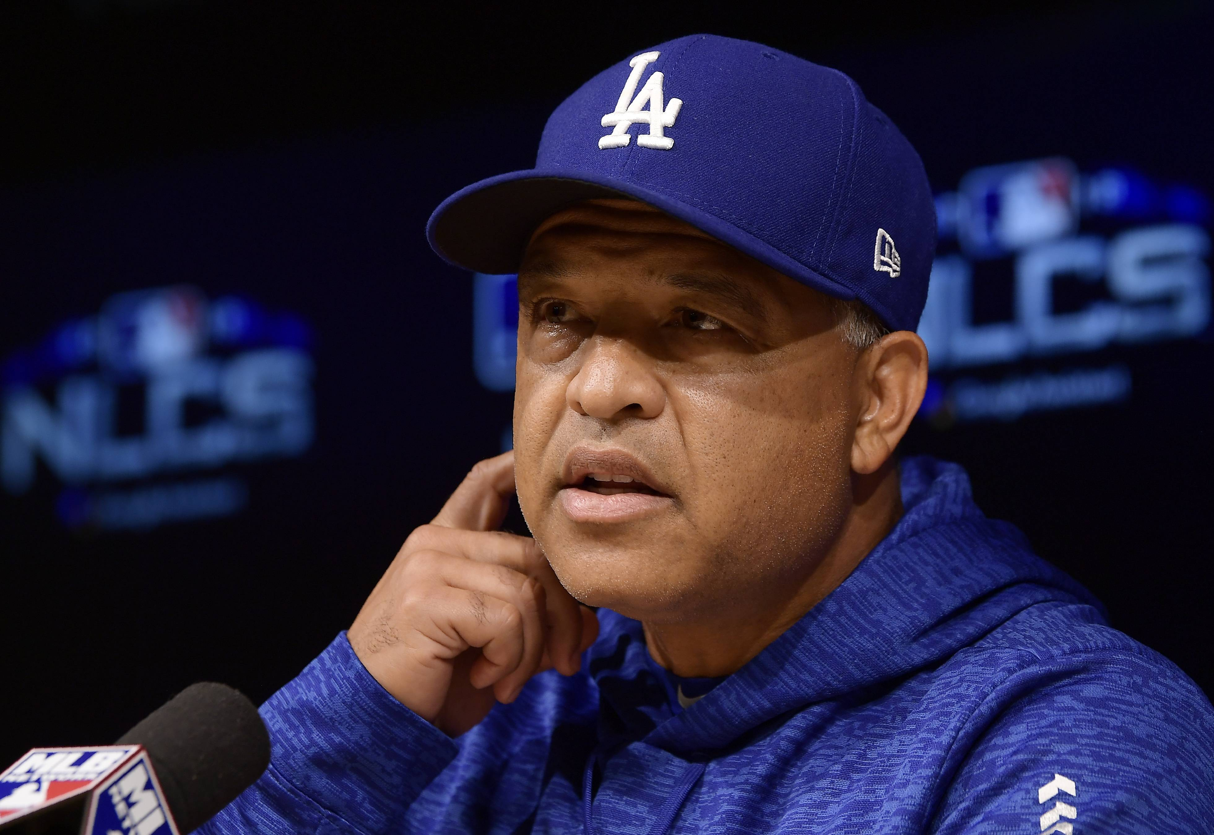 Dodgers manager Dave Roberts has a news conference Wednesday in Milwaukee.