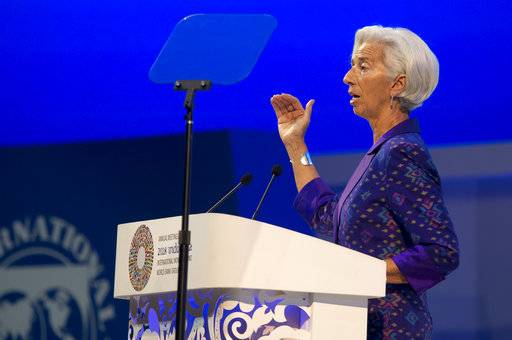 Managing Director of International Monetary Fund (IMF) Christine Lagarde delivers her speech during the opening of International Monetary Fund (IMF) World Bank annual meetings in Bali, Indonesia on Friday, Oct. 12, 2018.