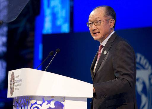 World Bank President Jim Yong Kim delivers his speech during the opening of International Monetary Fund (IMF) World Bank annual meetings in Bali, Indonesia on Friday, Oct. 12, 2018.
