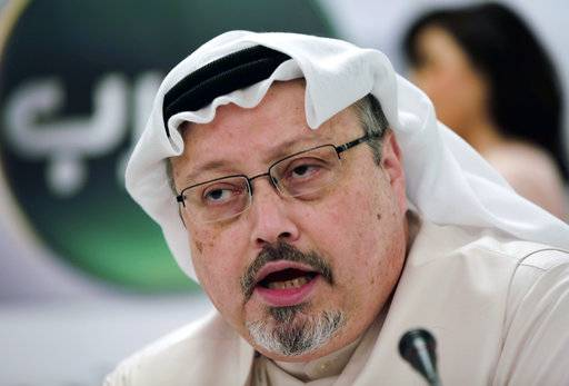 FILE - In this Feb. 1, 2015, file photo, Saudi journalist Jamal Khashoggi speaks during a press conference in Manama, Bahrain. Turkish claims that Khashoggi, who wrote for The Washington Post, was slain inside a Saudi diplomatic mission in Turkey, has put the Trump administration in a delicate spot with one of its closest Mid-east allies.