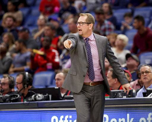 Toronto Raptors coach Nick Nurse calls to his players during the first half of a preseason NBA basketball game against the New Orleans Pelicans in New Orleans, Thursday, Oct. 11, 2018.