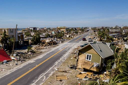This photo shows debris and destruction in Mexico Beach, Fla., Friday, Oct. 12, 2018, after Hurricane Michael went through the area on Wednesday. Mexico Beach, the ground-zero town, was nearly obliterated by the hurricane, an official said Friday as the scale of the storm's fury became ever clearer. (Bronte Wittpenn/Tampa Bay Times via AP)