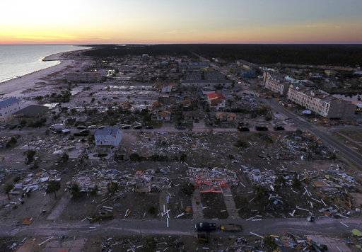 Damaged homes are seen along the water's edge in the aftermath of hurricane Michael in Mexico Beach, Fla., Friday, Oct. 12, 2018.