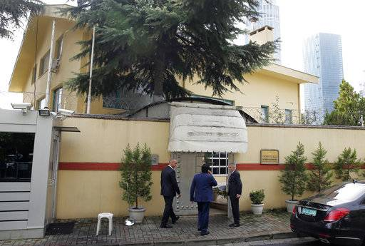 "Saudi officials enter Saudi Arabia's consulate in Istanbul, Friday, Oct. 12, 2018. A senior Turkish official says Turkey and Saudi Arabia will form a ""joint working group"" to look into the disappearance of Saudi writer Jamal Khashoggi who vanished last week after entering the Saudi diplomatic mission in Istanbul."