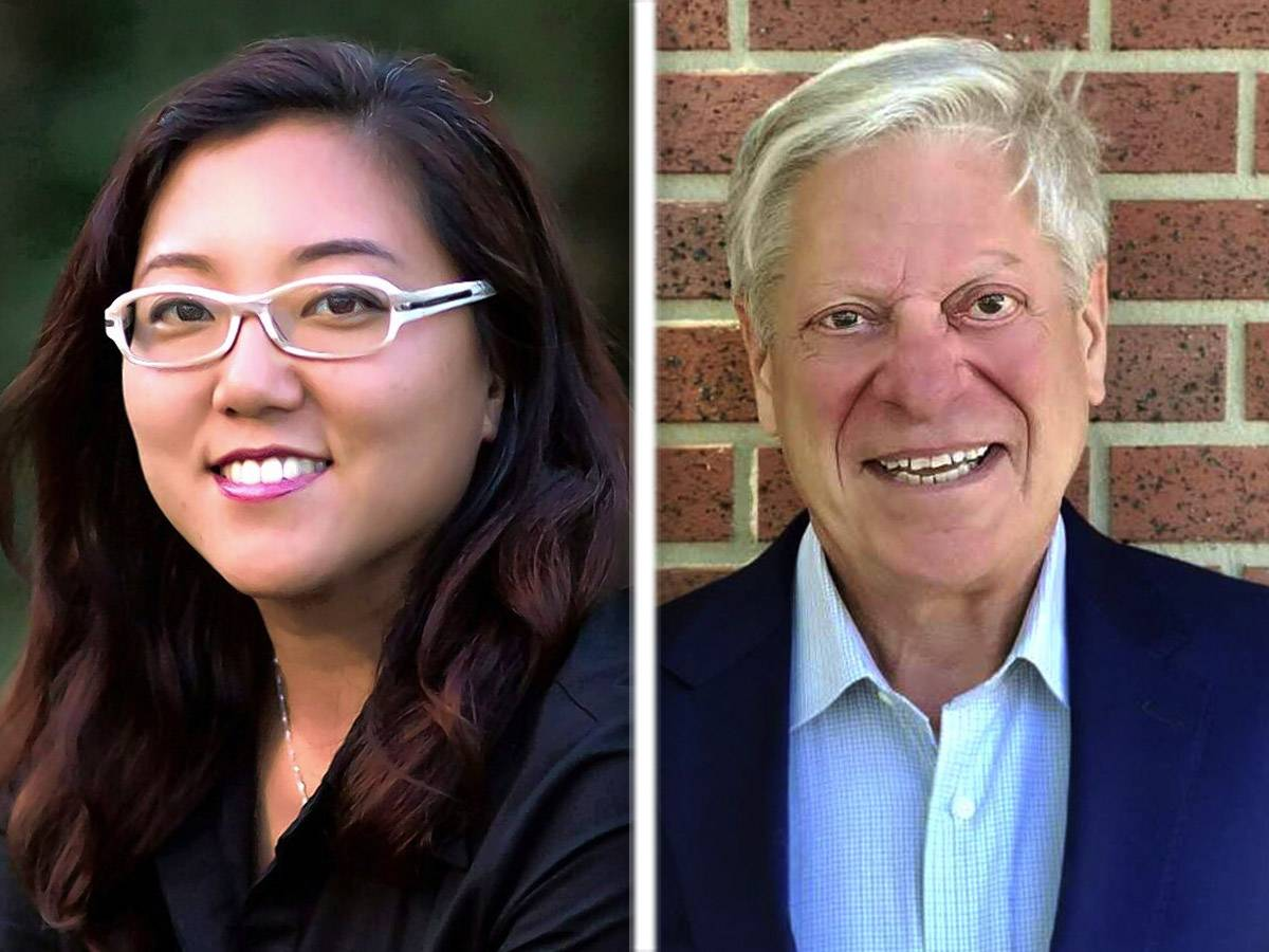 Democrat Holly Kim, left, and GOP incumbent David Stolman, right, are candidates for Treasurer in Lake County.