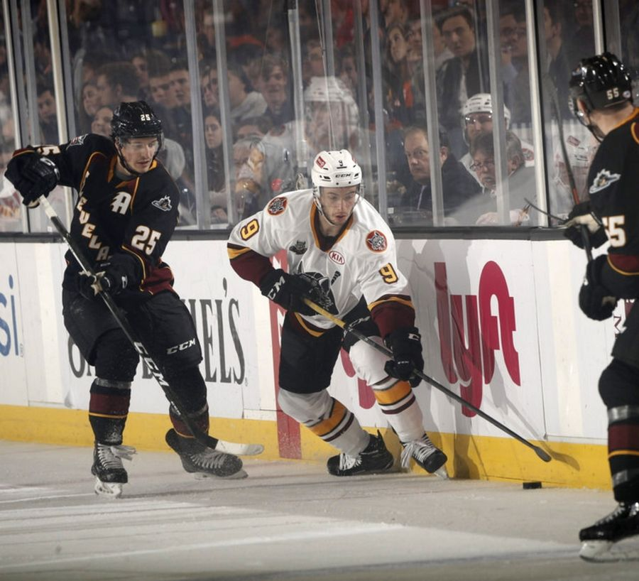 Gage Quinney had a hat trick Wednesday as the Chicago Wolves beat Cleveland 6-2 at Allstate Arena.