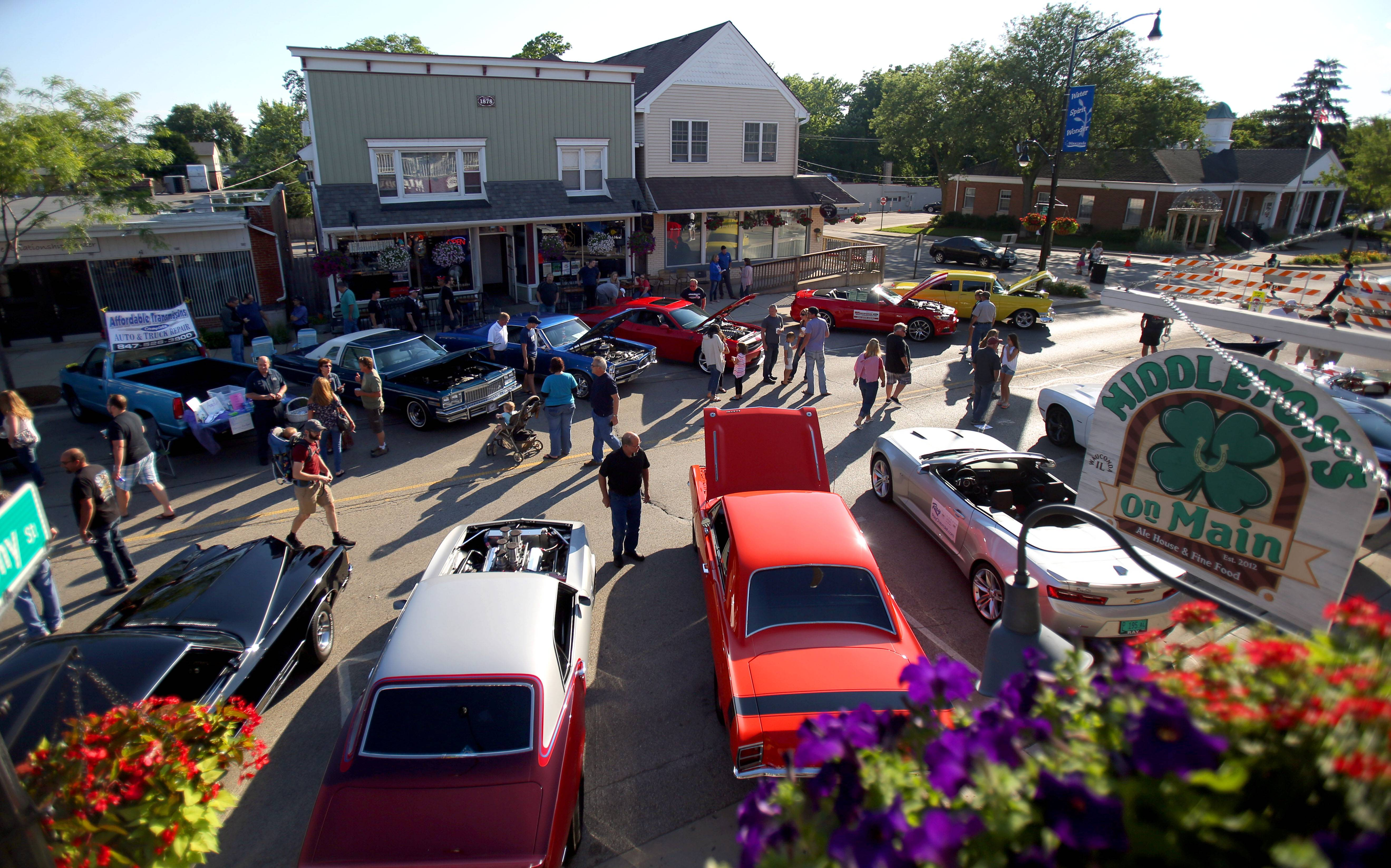 People gathered on Main Street during the annual Wauconda Cruise Nights downtown.